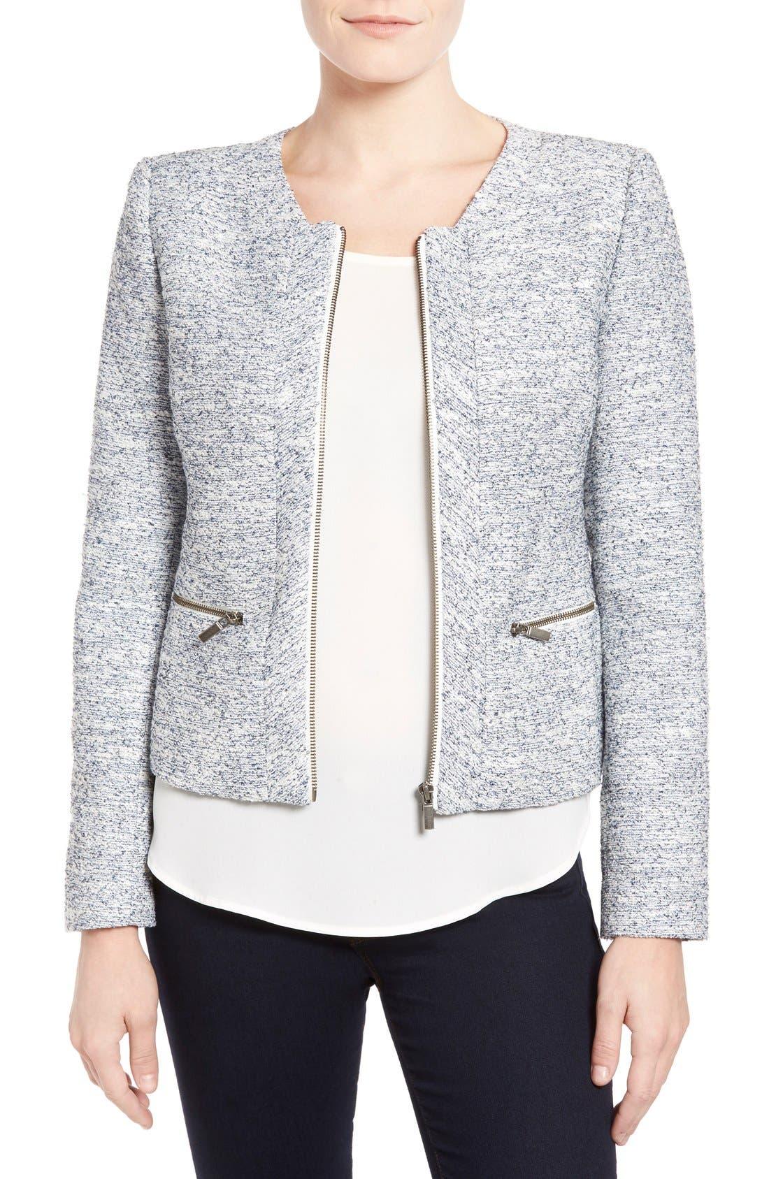 Alternate Image 1 Selected - Halogen® Zip Front Collarless Jacket (Regular & Petite)