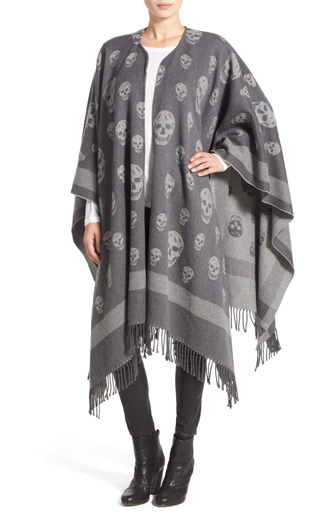 Alexander McQueen 'Big Skull' Wool & Cashmere Jacquard Poncho