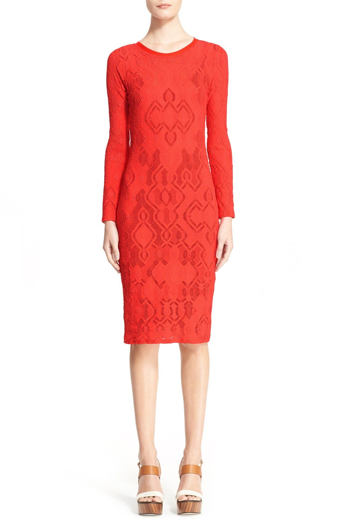 Long Sleeve Geo Lace Sheath Dress,                         Main,                         color, Red