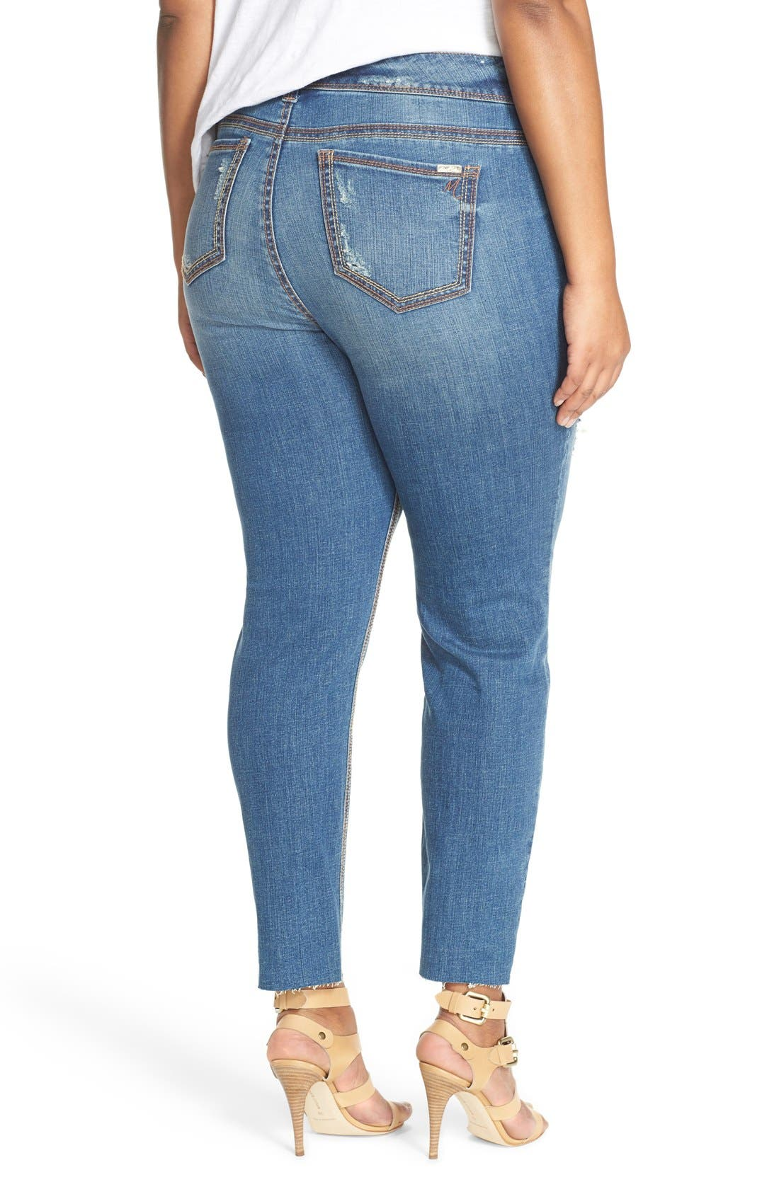 Alternate Image 2  - Melissa McCarthy Seven7 Distressed Pencil Leg Jeans (Nantucket) (Plus Size)