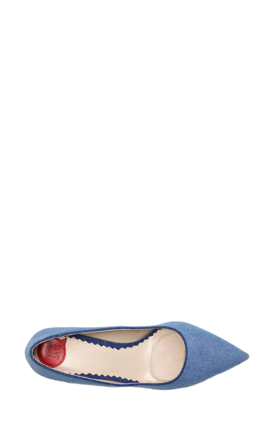 'OMG' Pointy Toe Pump,                             Alternate thumbnail 3, color,                             Light Blue