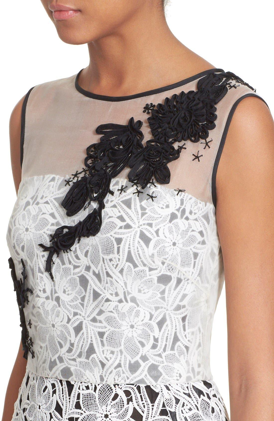Alternate Image 6  - Oscar de la Renta Embellished Floral Lace Dress
