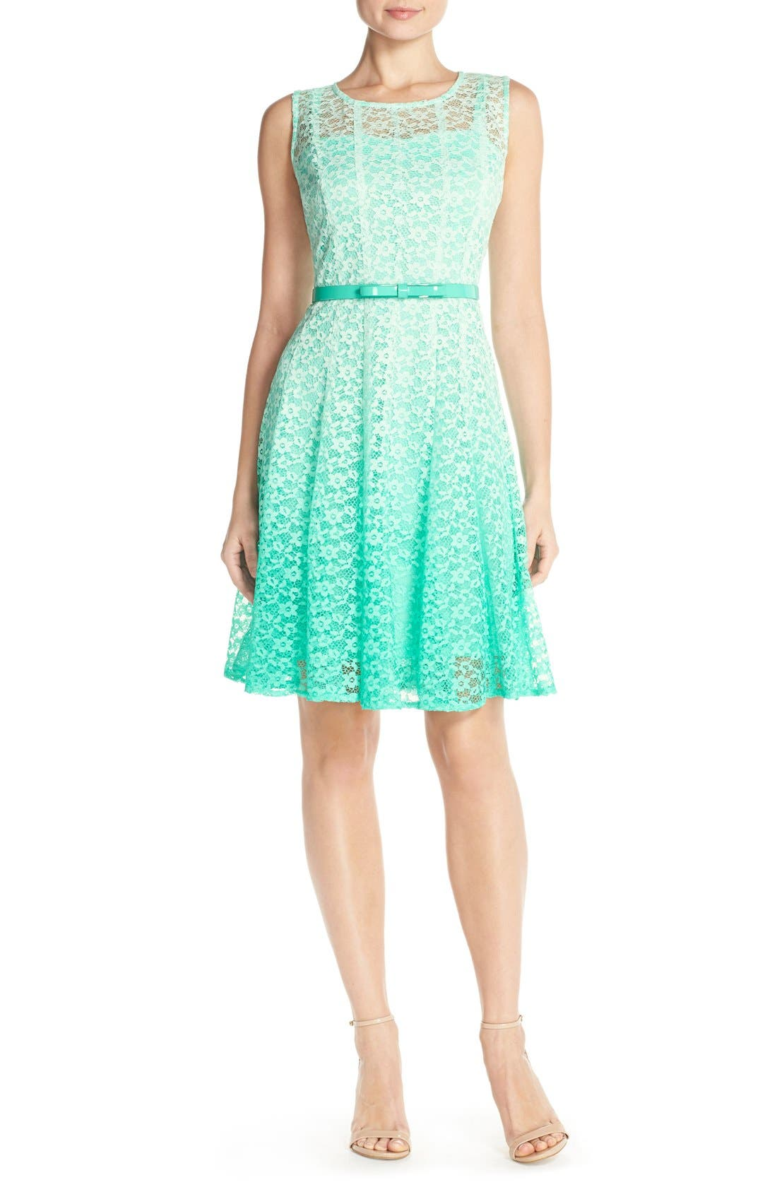 Alternate Image 1 Selected - Chetta B Ombré Lace Sleeveless A-Line Dress with Belt