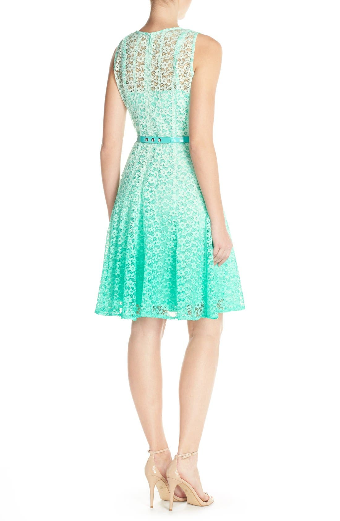 Alternate Image 2  - Chetta B Ombré Lace Sleeveless A-Line Dress with Belt