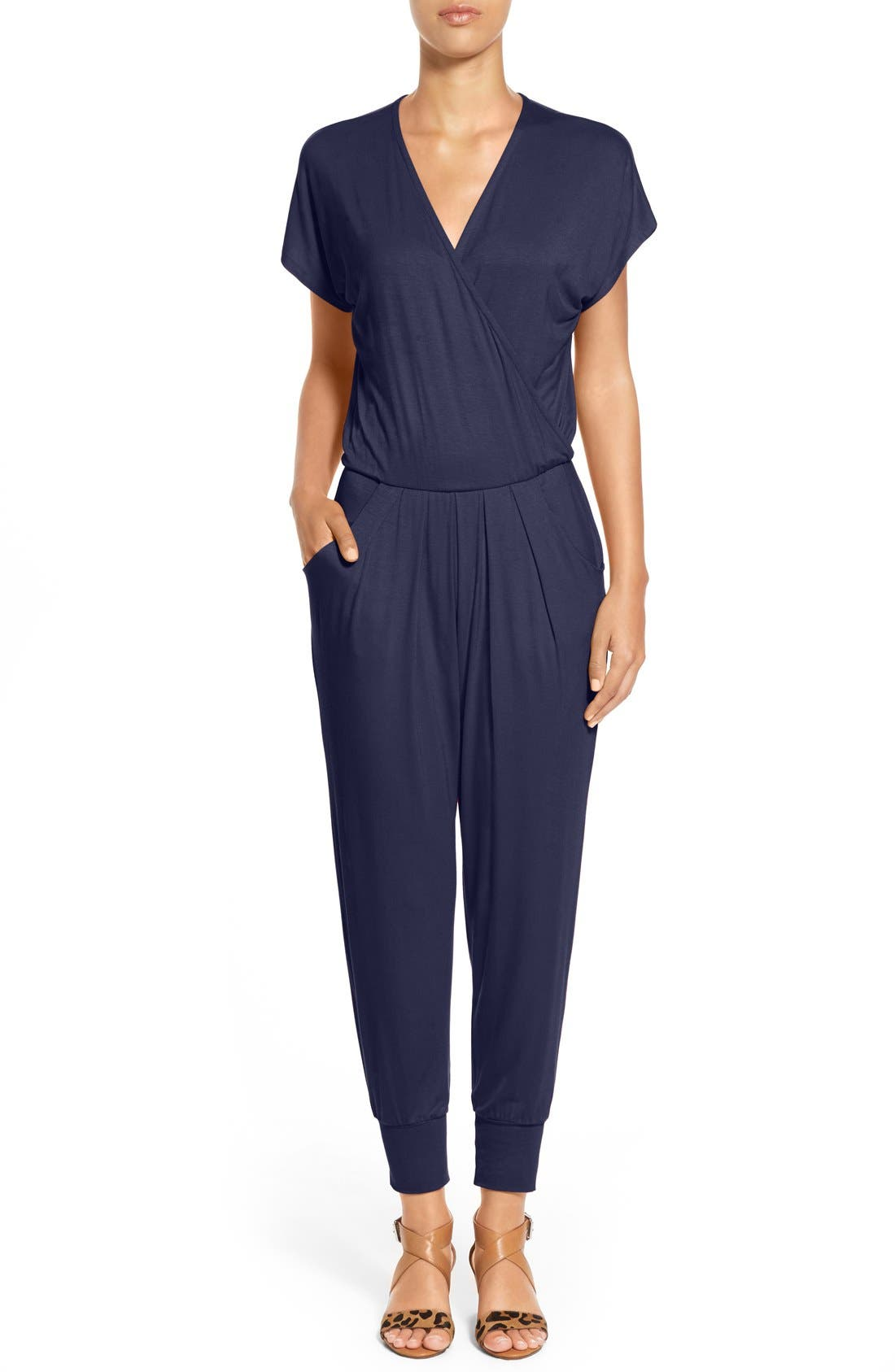 Loveappella Short Sleeve Wrap Top Jumpsuit (Regular & Petite)