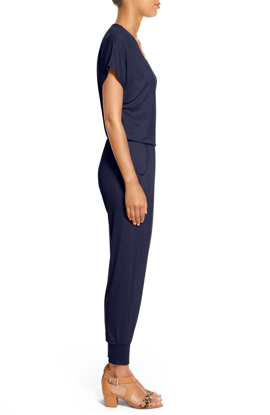 Short Sleeve Wrap Top Jumpsuit,                             Alternate thumbnail 3, color,                             Midnight Blue