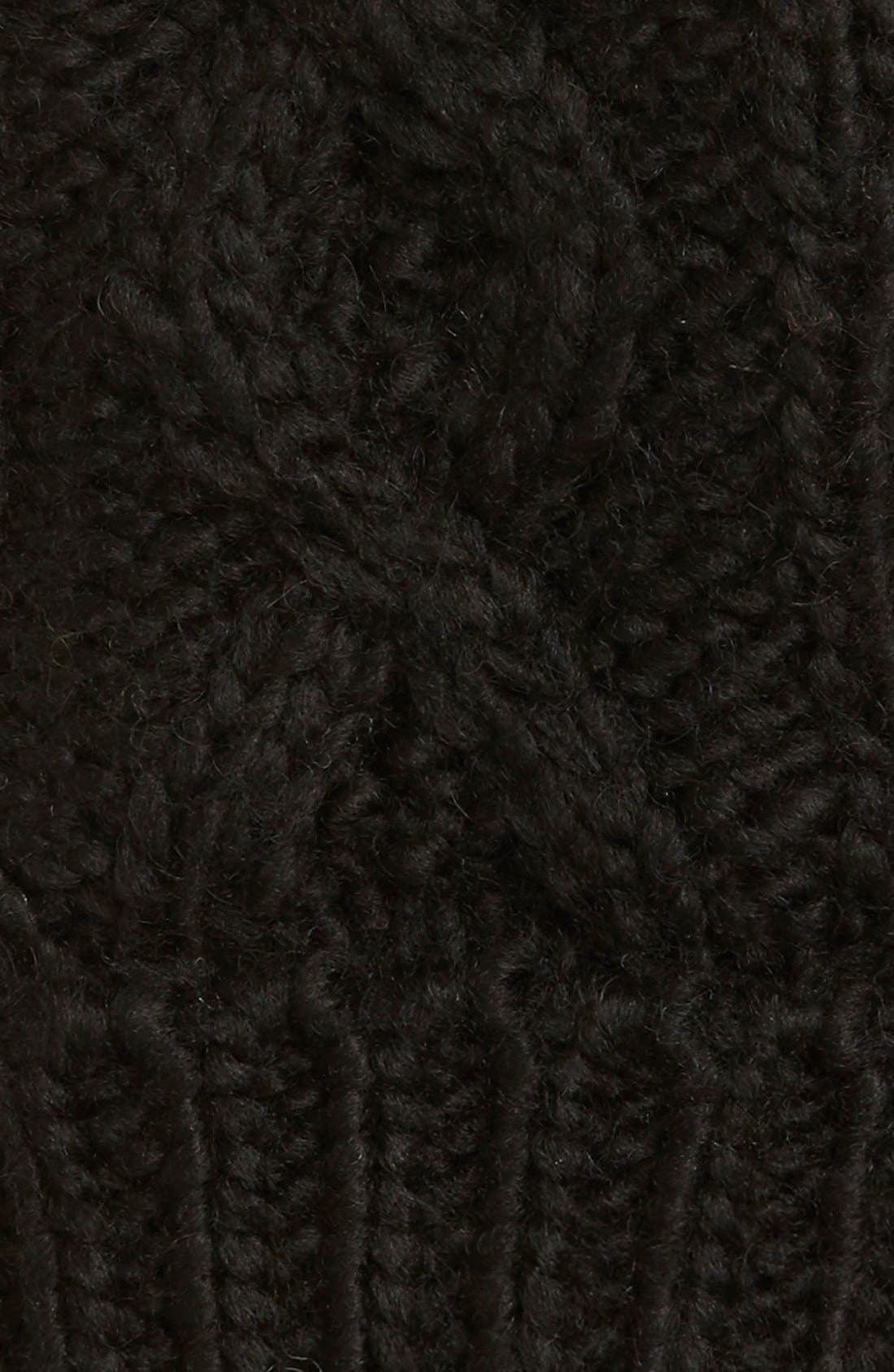 'Betto' Cable Knit Mittens,                             Alternate thumbnail 2, color,                             Black
