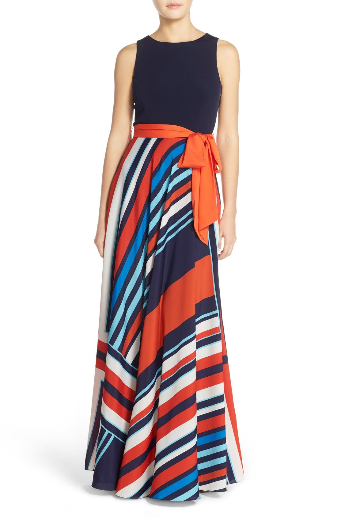 Jersey & Stripe Maxi Dress,                         Main,                         color, Navy/ Red