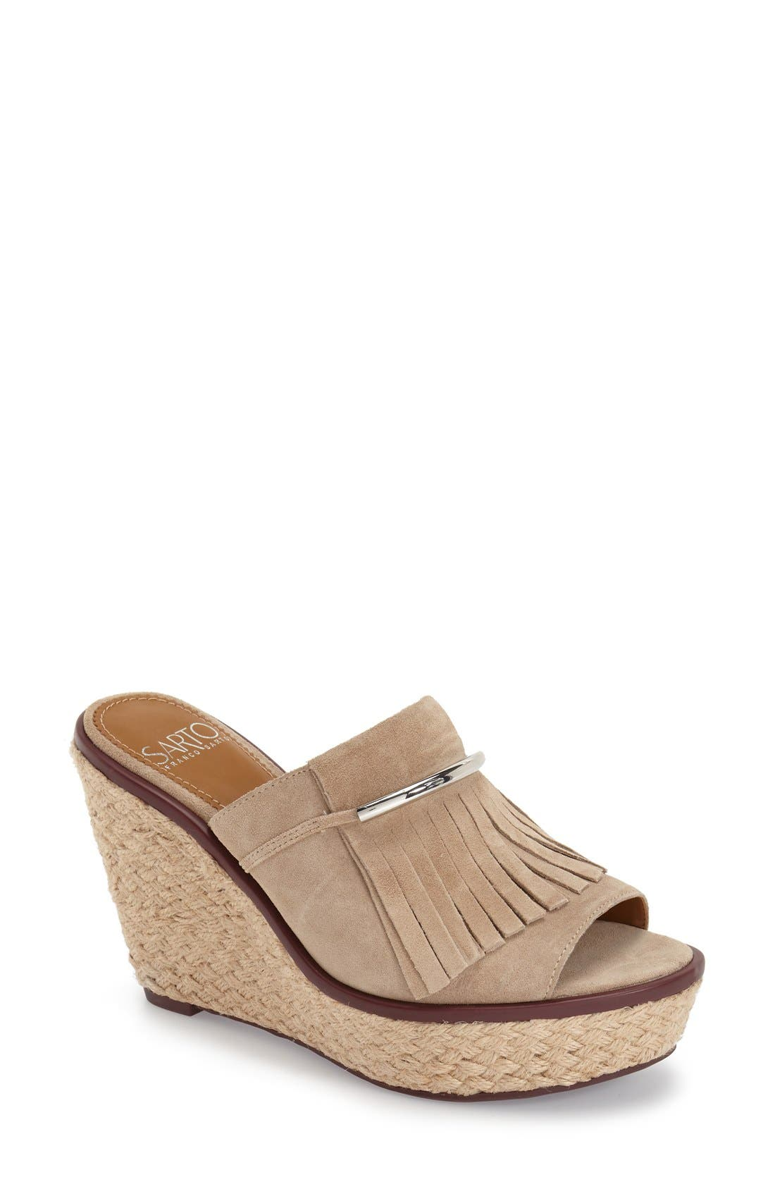 'Candace' Wedge Mule,                             Main thumbnail 1, color,                             Soft Tan Kid Suede