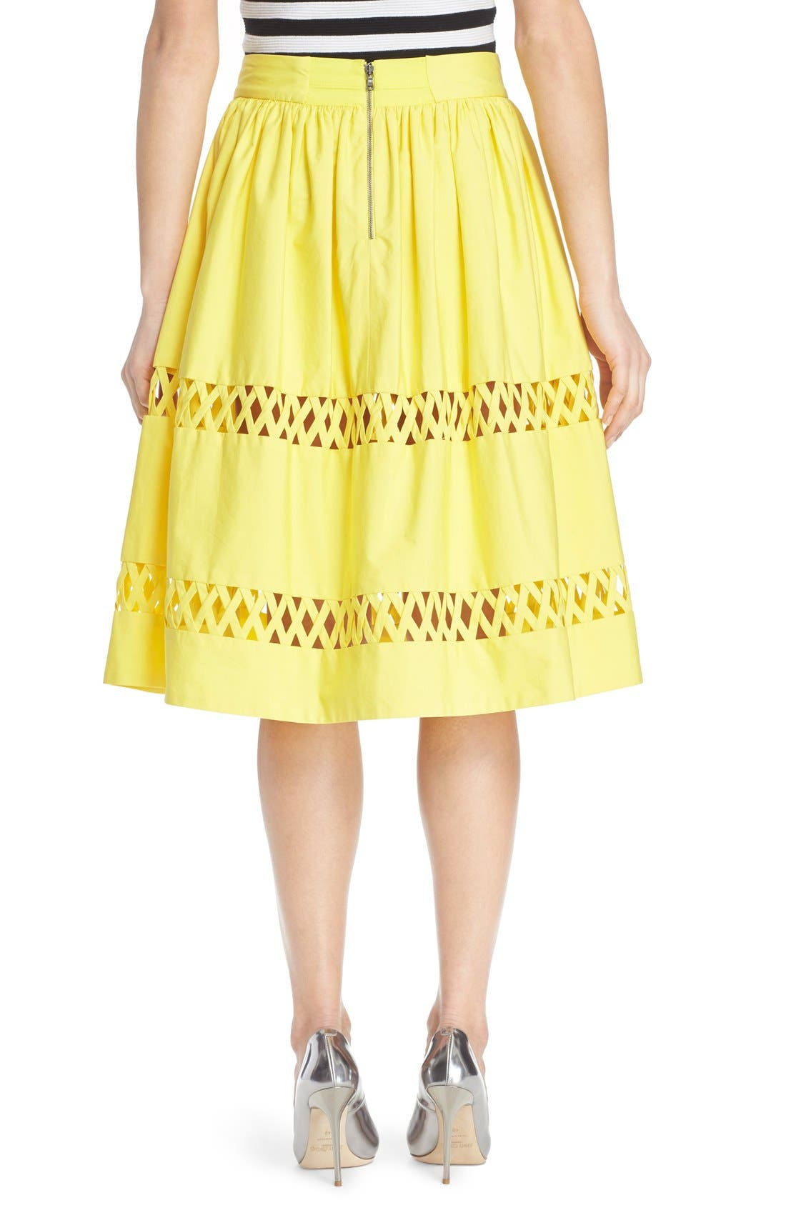 Alternate Image 2  - Alice + Olivia 'Morina' Lattice Trim Cotton Skirt