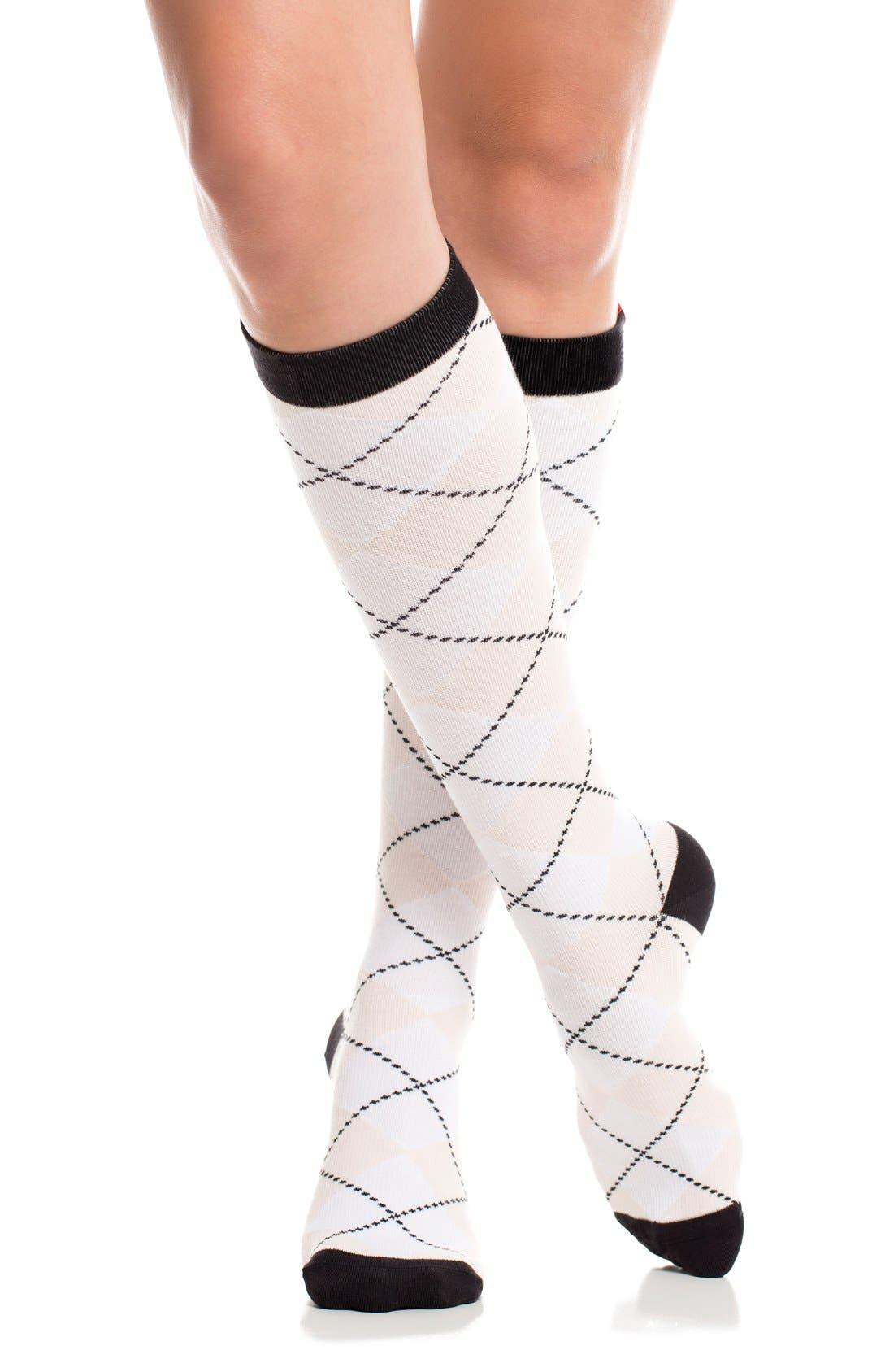 Argyle Graduated Compression Trouser Socks,                             Alternate thumbnail 2, color,                             White/ Blush