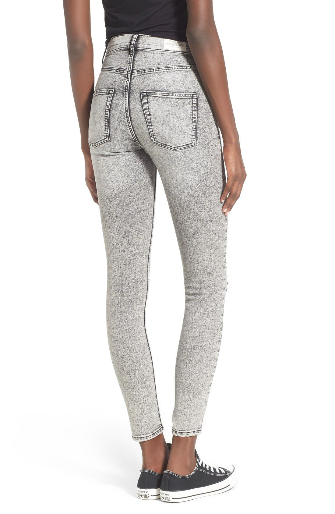 Alternate Image 2  - Cheap Monday 'High Spray' Distressed High Rise Skinny Jeans (Master Grey)