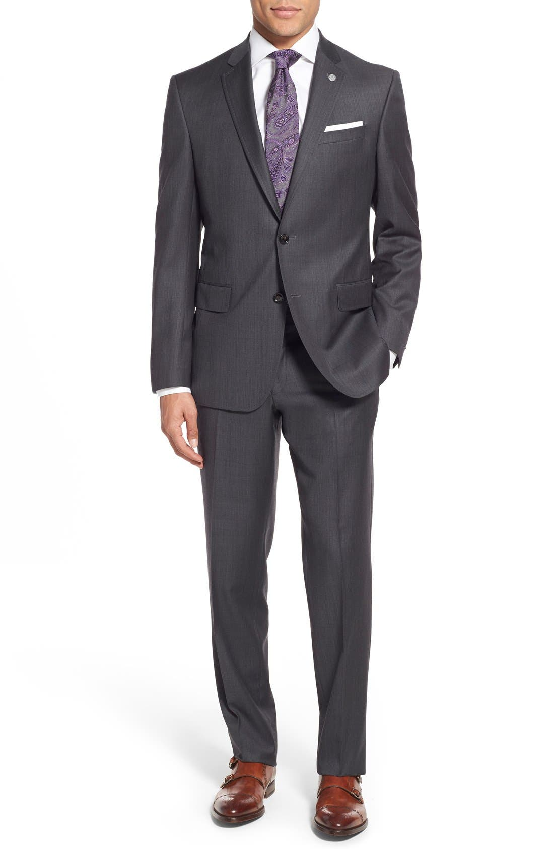 Main Image - Ted Baker London 'Jay' Trim Fit Solid Wool Suit