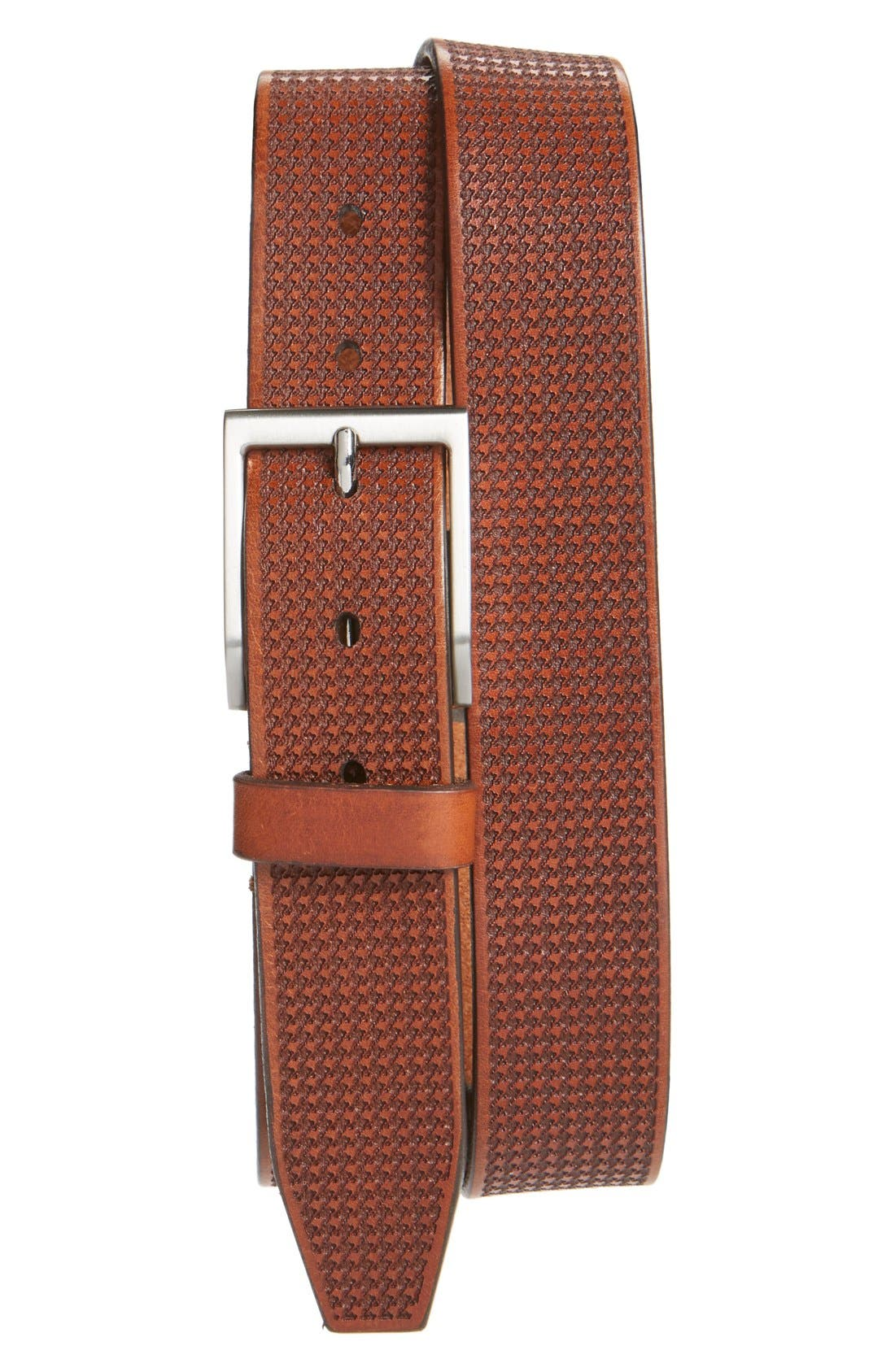 'Shorewood Avenue' Houndstooth Leather Belt,                         Main,                         color, Chili
