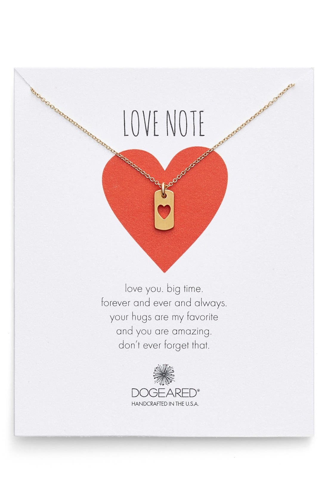 Heart Dog Tag Pendant Necklace,                         Main,                         color, Gold