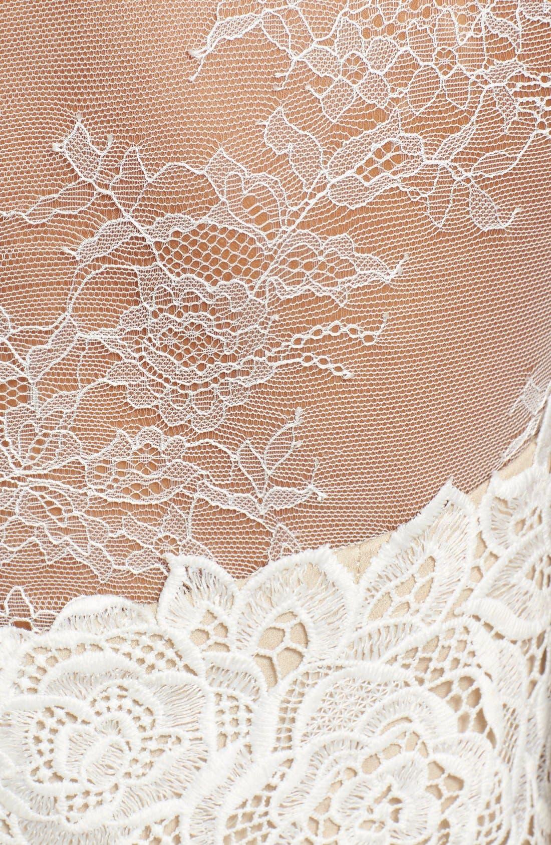 Monique Lhuillier Ready to Wed Guipure Lace Jumpsuit,                             Alternate thumbnail 5, color,                             Silk White/ Nude