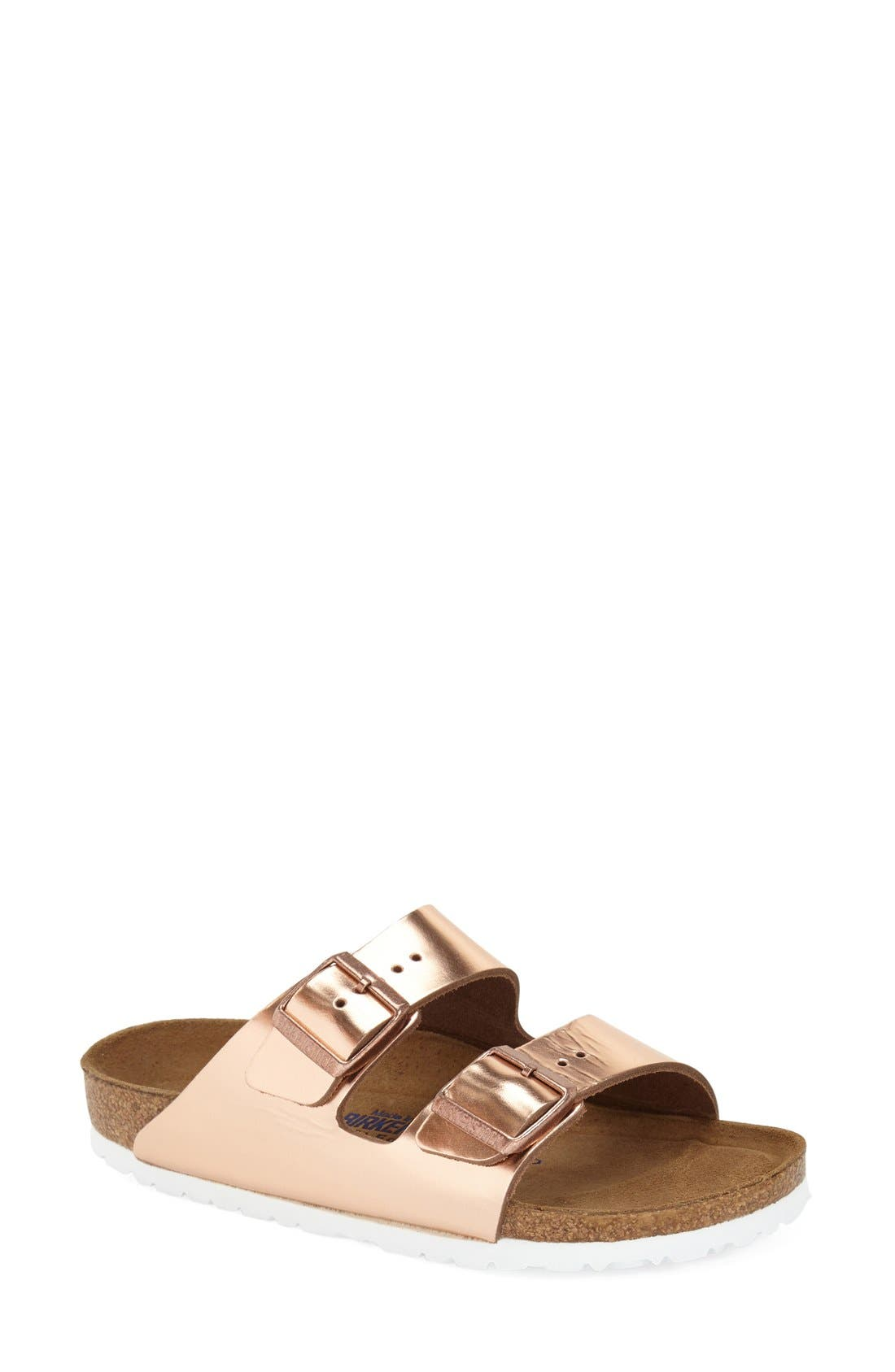 'Arizona' Soft Footbed Sandal, Main, color, Copper Leather