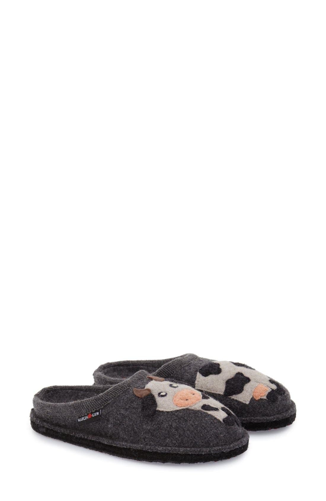 'Cow' Slipper,                             Main thumbnail 1, color,                             Grey Wool