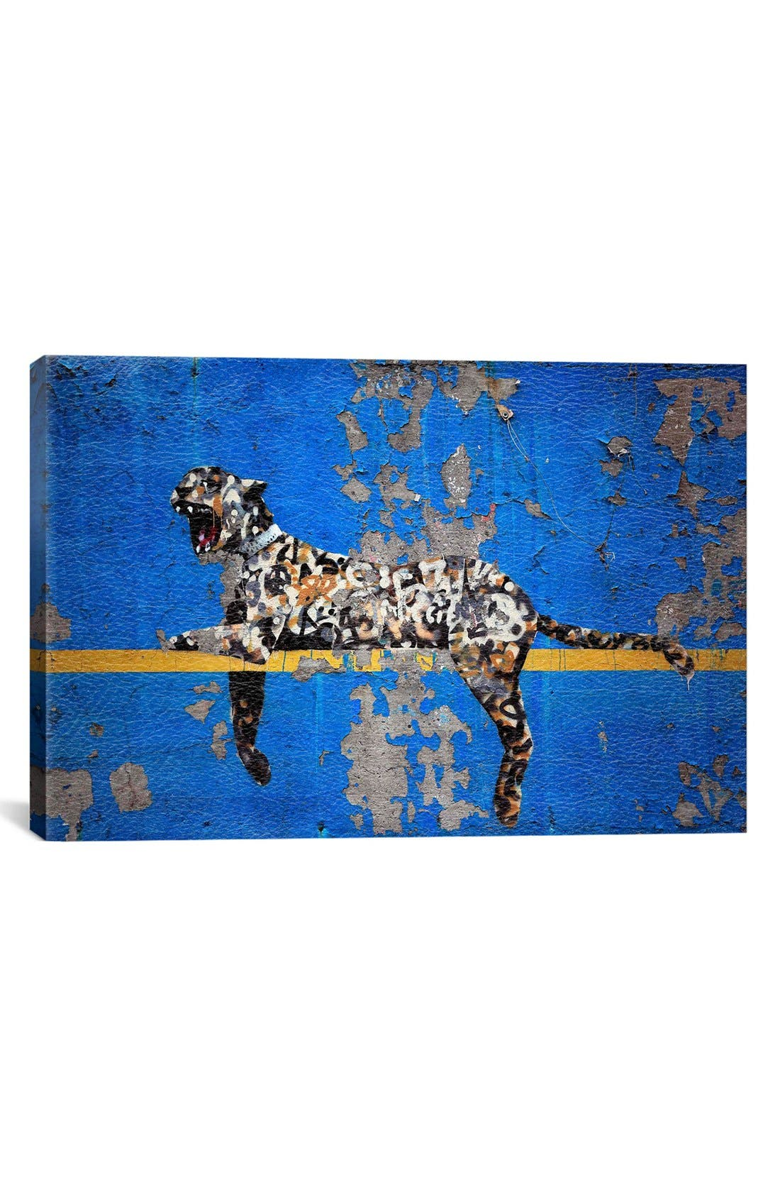 Main Image - iCanvas 'Yankee Tiger' Leather Art Print