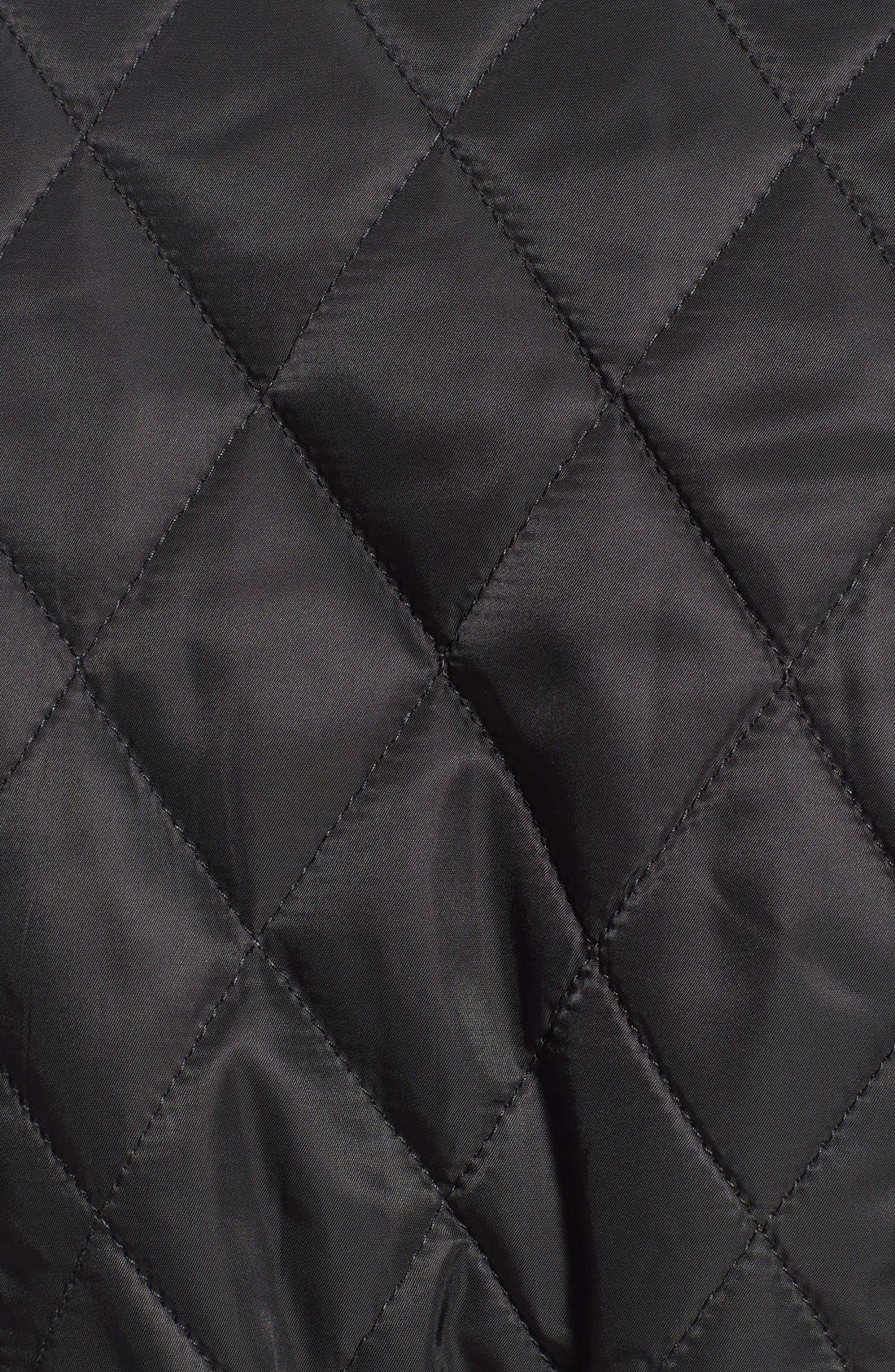 Faux Suede Trim Belted Quilted Jacket,                             Alternate thumbnail 5, color,                             Black/ Ginger