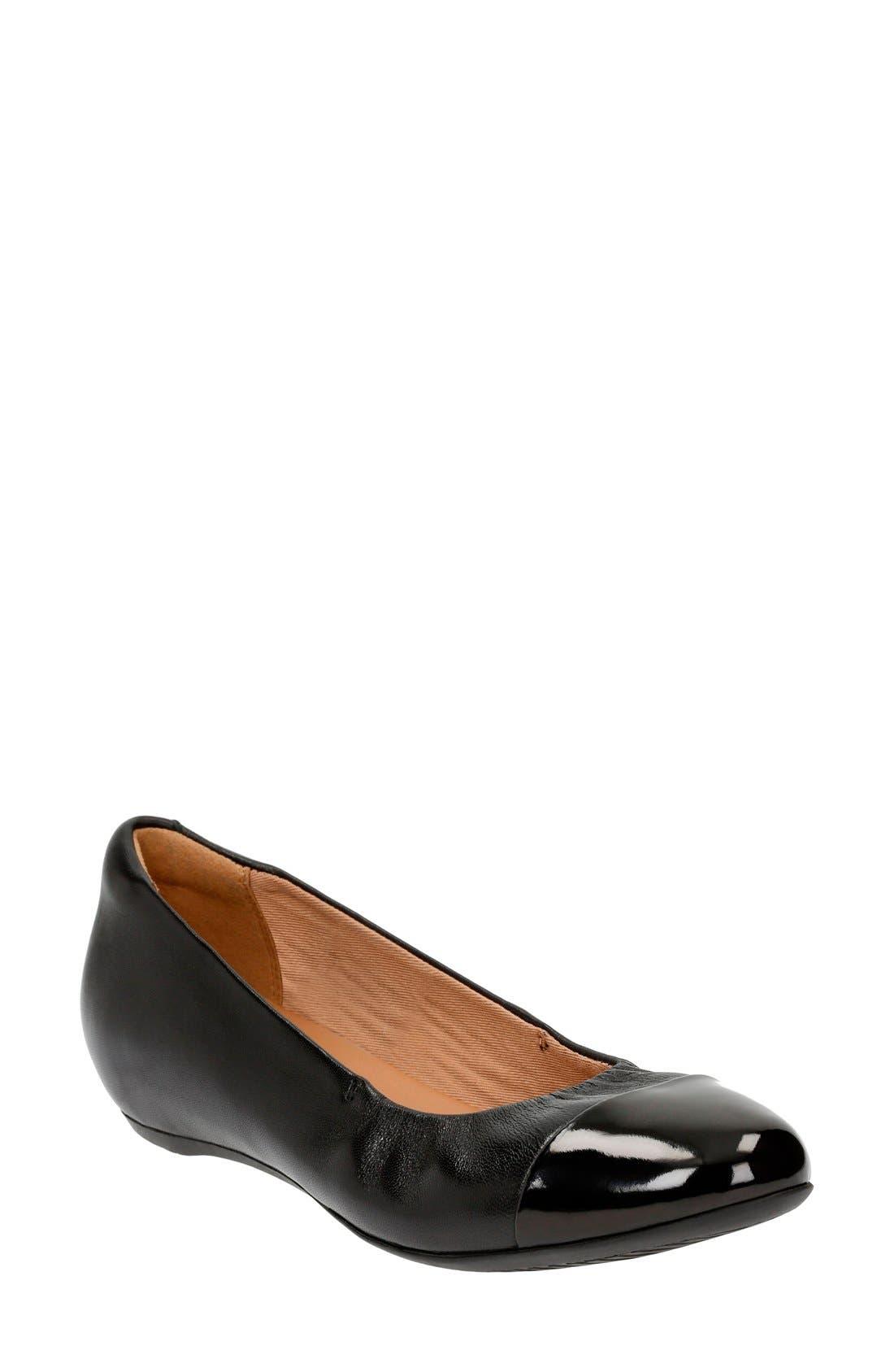 Alternate Image 1 Selected - Clarks® 'Alitay Susan' Cap Toe Flat (Women)