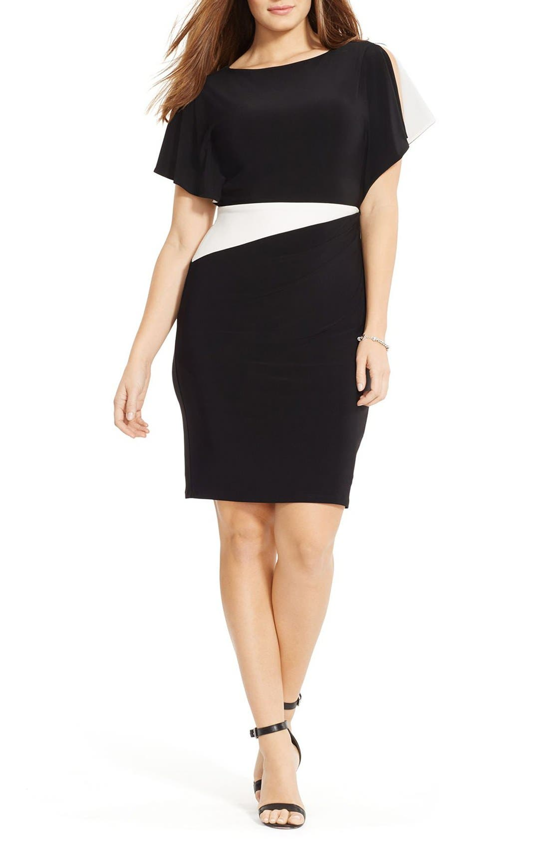 LAUREN RALPH LAUREN Two-Tone Jersey Flutter Sleeve Sheath Dress