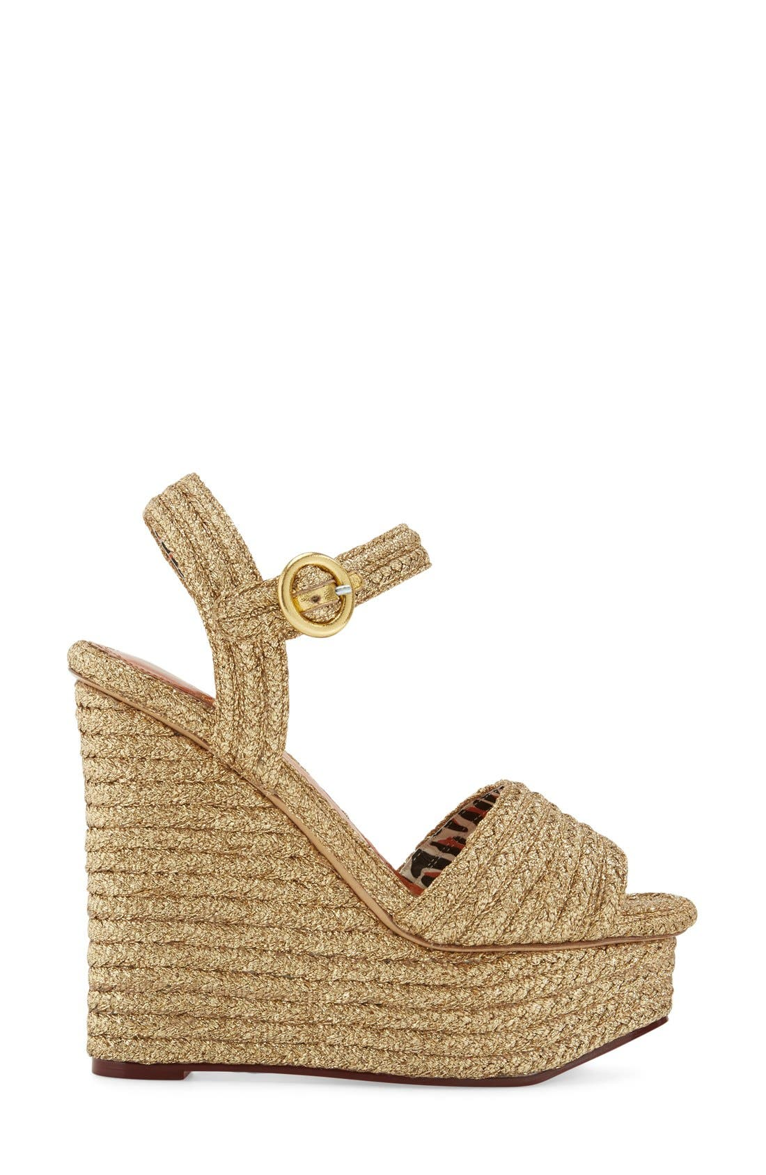 'Karen' Platform Wedge Sandal,                             Alternate thumbnail 4, color,                             Gold Raffia