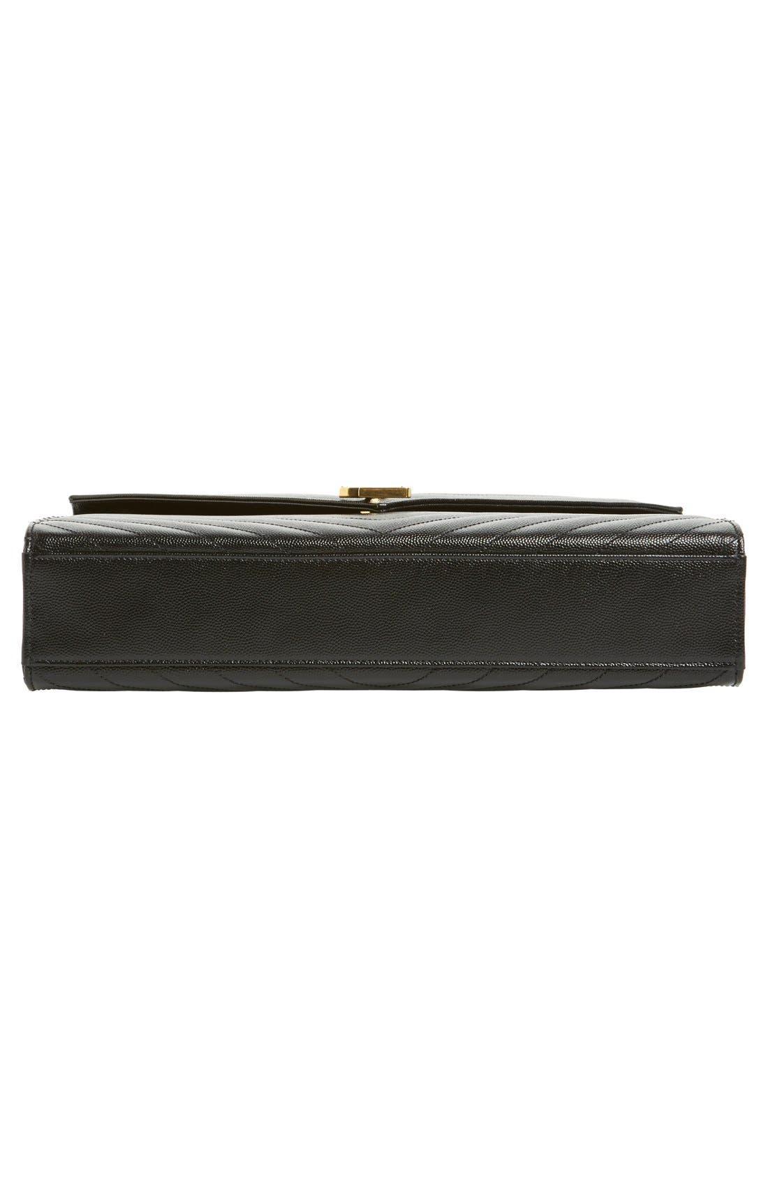 'Large Monogram' Grained Leather Shoulder Bag,                             Alternate thumbnail 6, color,                             Nero/ Gold Hdwr