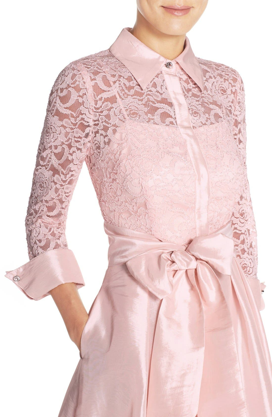 Belted Lace & Taffeta Point Collar Midi Dress,                             Alternate thumbnail 5, color,                             Blush