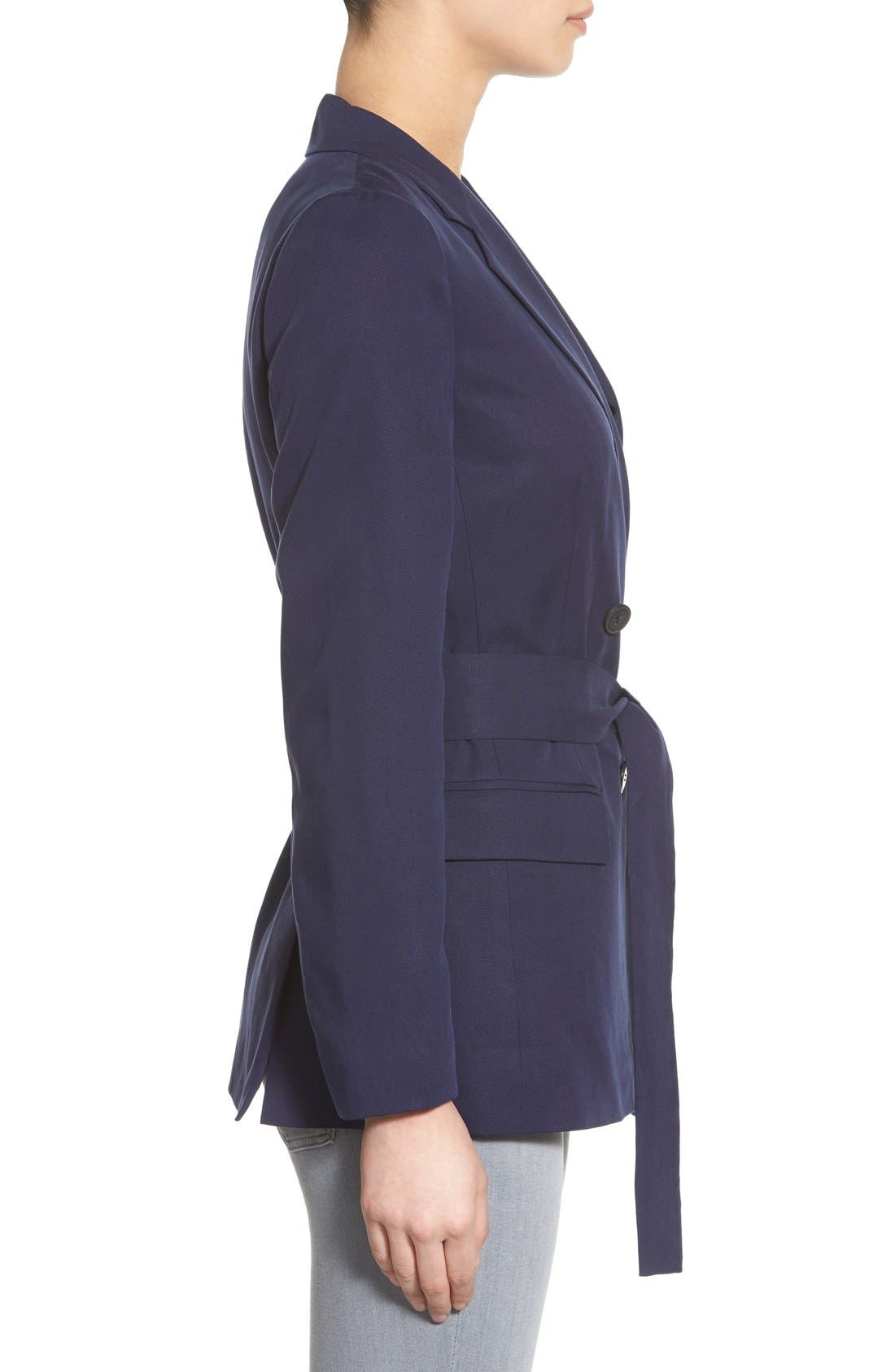 Belted Double Breasted Blazer,                             Alternate thumbnail 3, color,                             Evening Navy