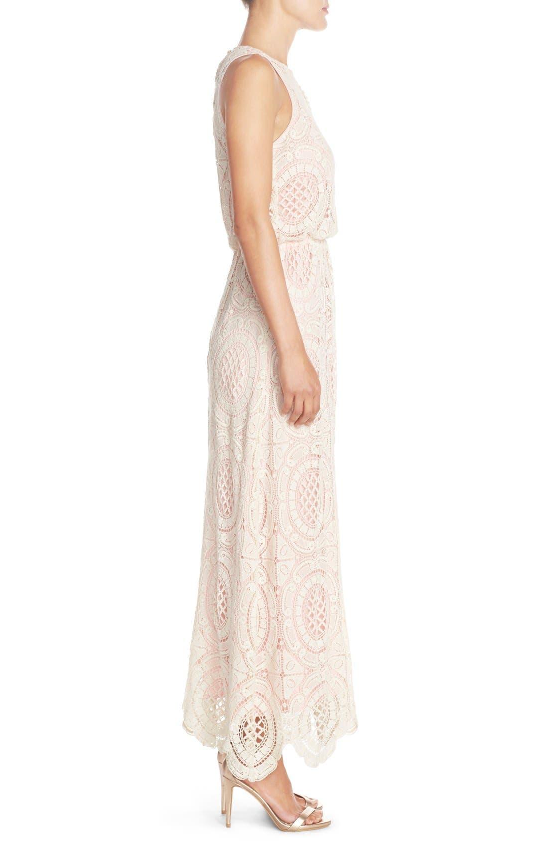 Lace Blouson Maxi Dress,                             Alternate thumbnail 3, color,                             Beige