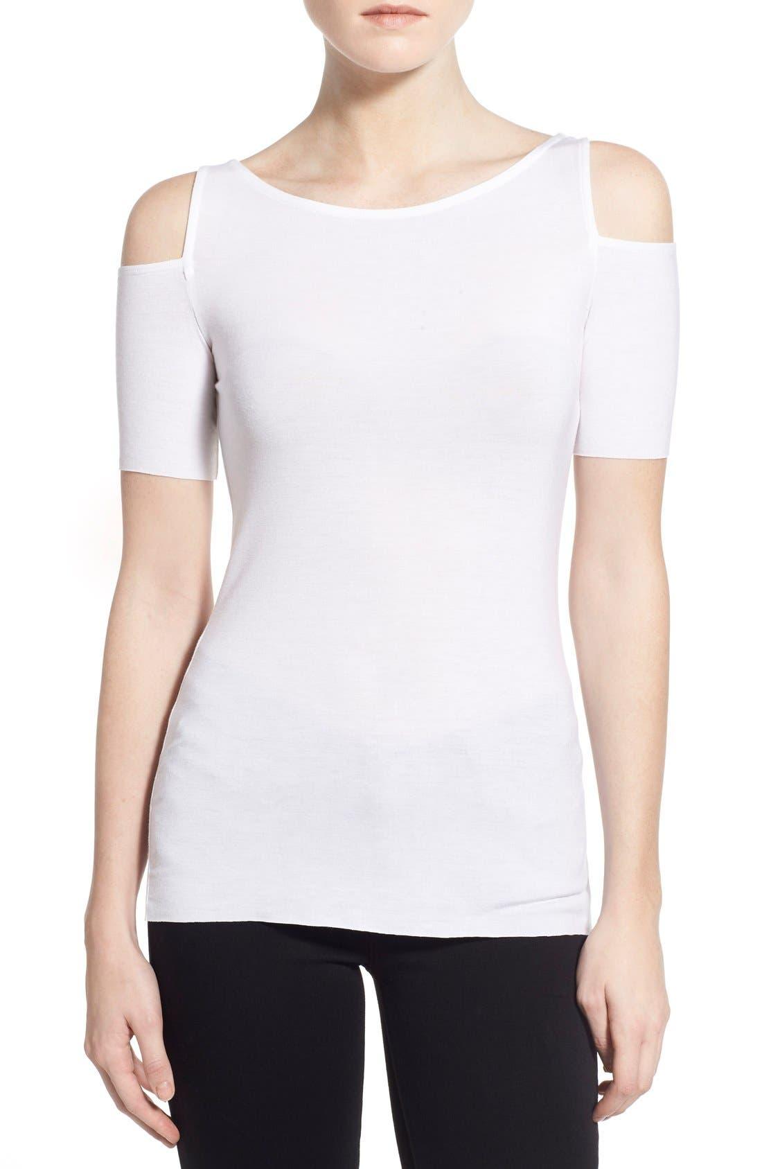 'Deneuve' Cold Shoulder Top,                         Main,                         color, White