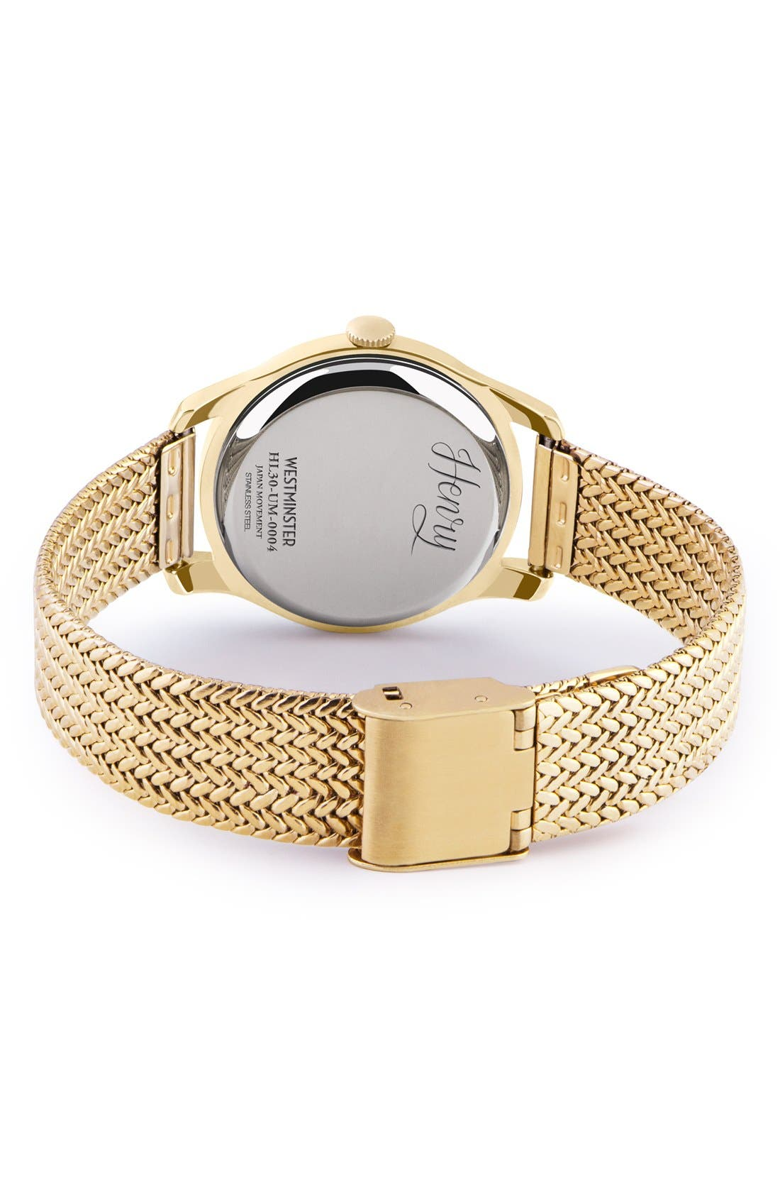 'Westminster' Mesh Strap Watch, 30mm,                             Alternate thumbnail 2, color,                             Gold/ White