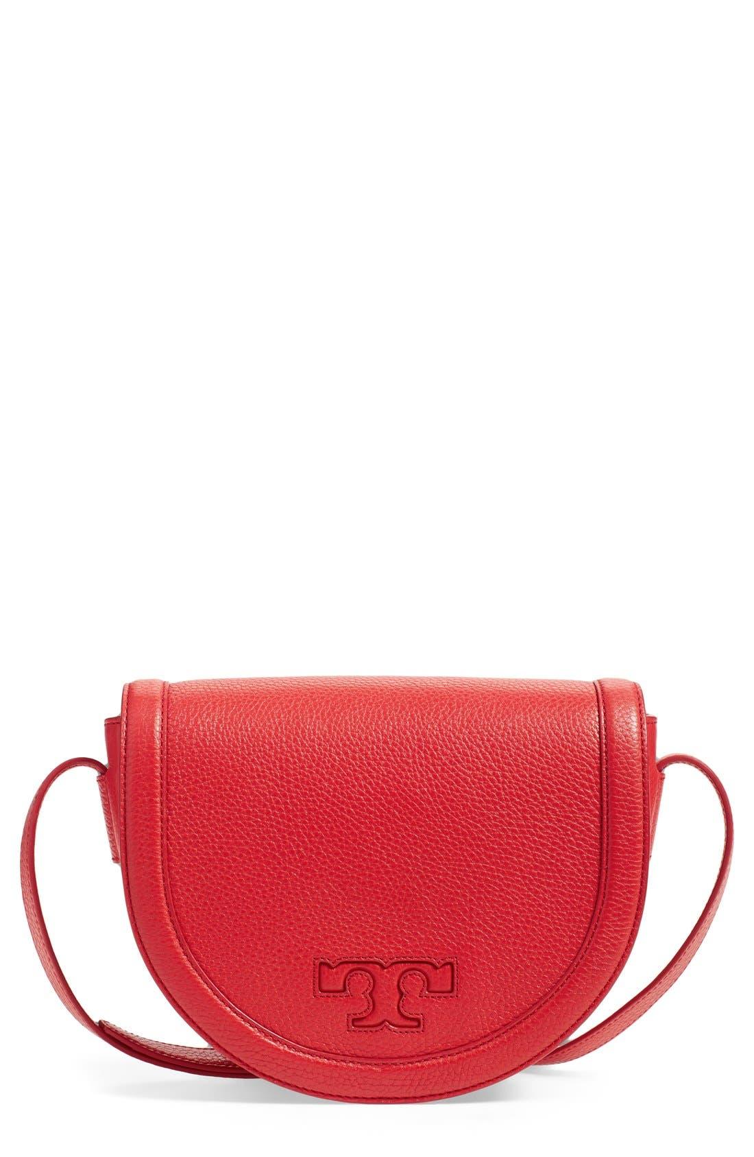 Alternate Image 1 Selected - Tory Burch 'Serif T' Leather Saddle Bag