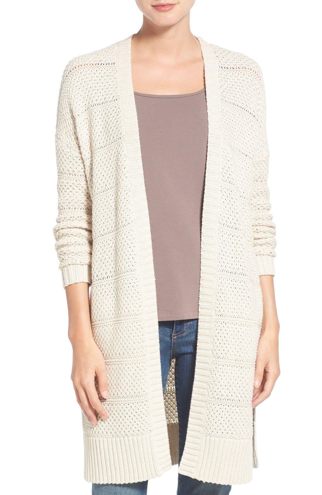 Alternate Image 1 Selected - Caslon® Open Stitch Long Cotton Cardigan (Regular & Petite)
