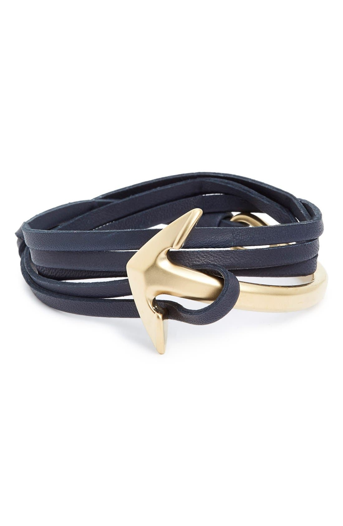 Half Cuff Anchor Leather Wrap Bracelet,                         Main,                         color, Navy/ Brushed Gold