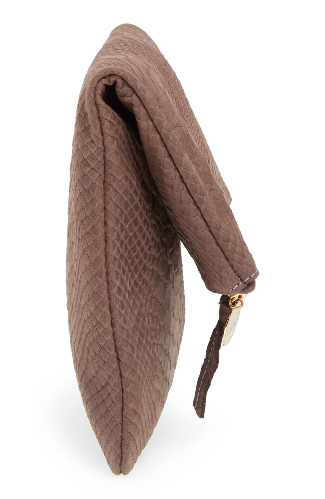 Snake Embossed Leather Foldover Clutch,                             Alternate thumbnail 5, color,                             Taupe Snake Nubuck