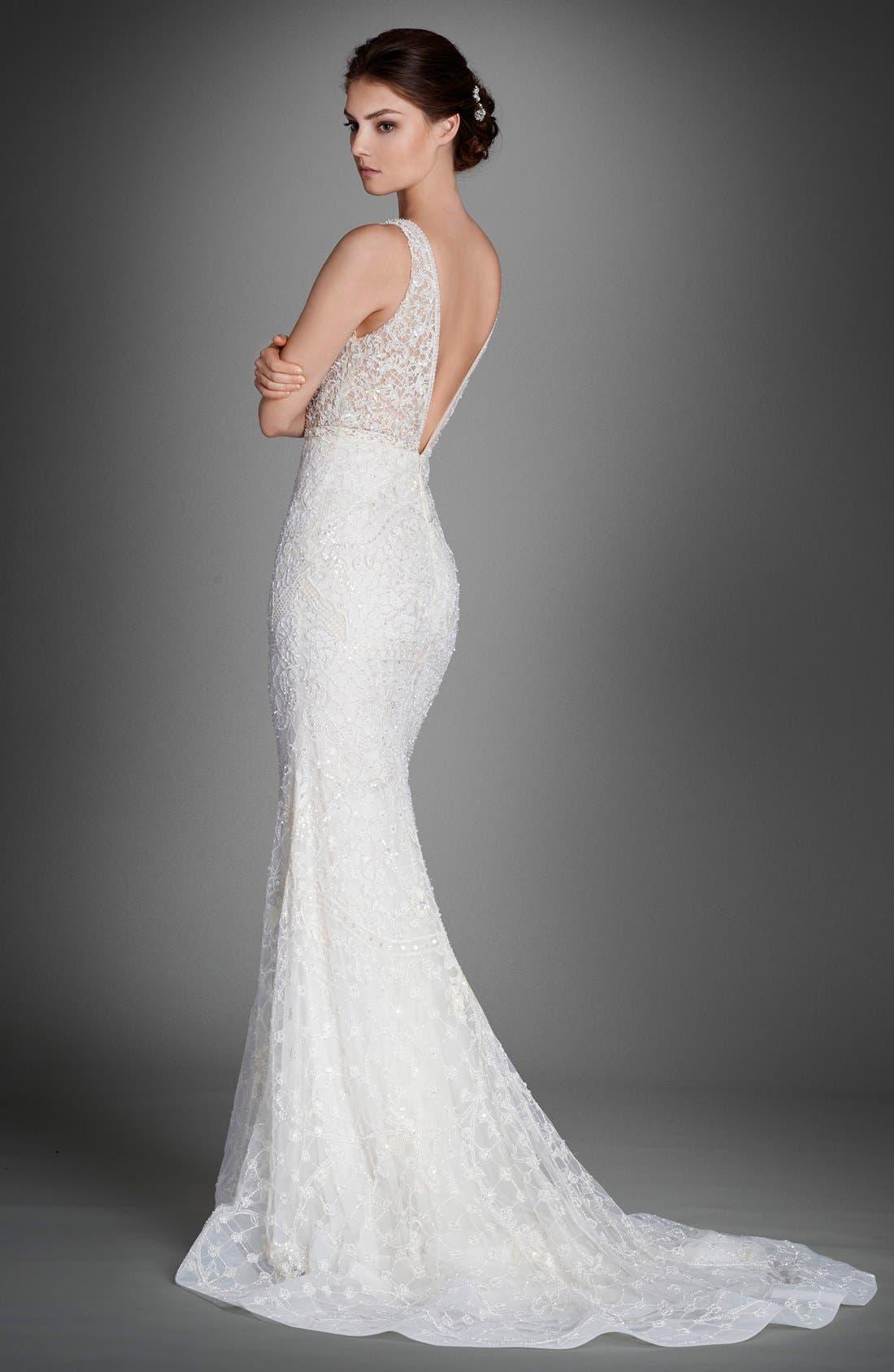 Alternate Image 2  - Lazaro Crystal Beaded Column Dress