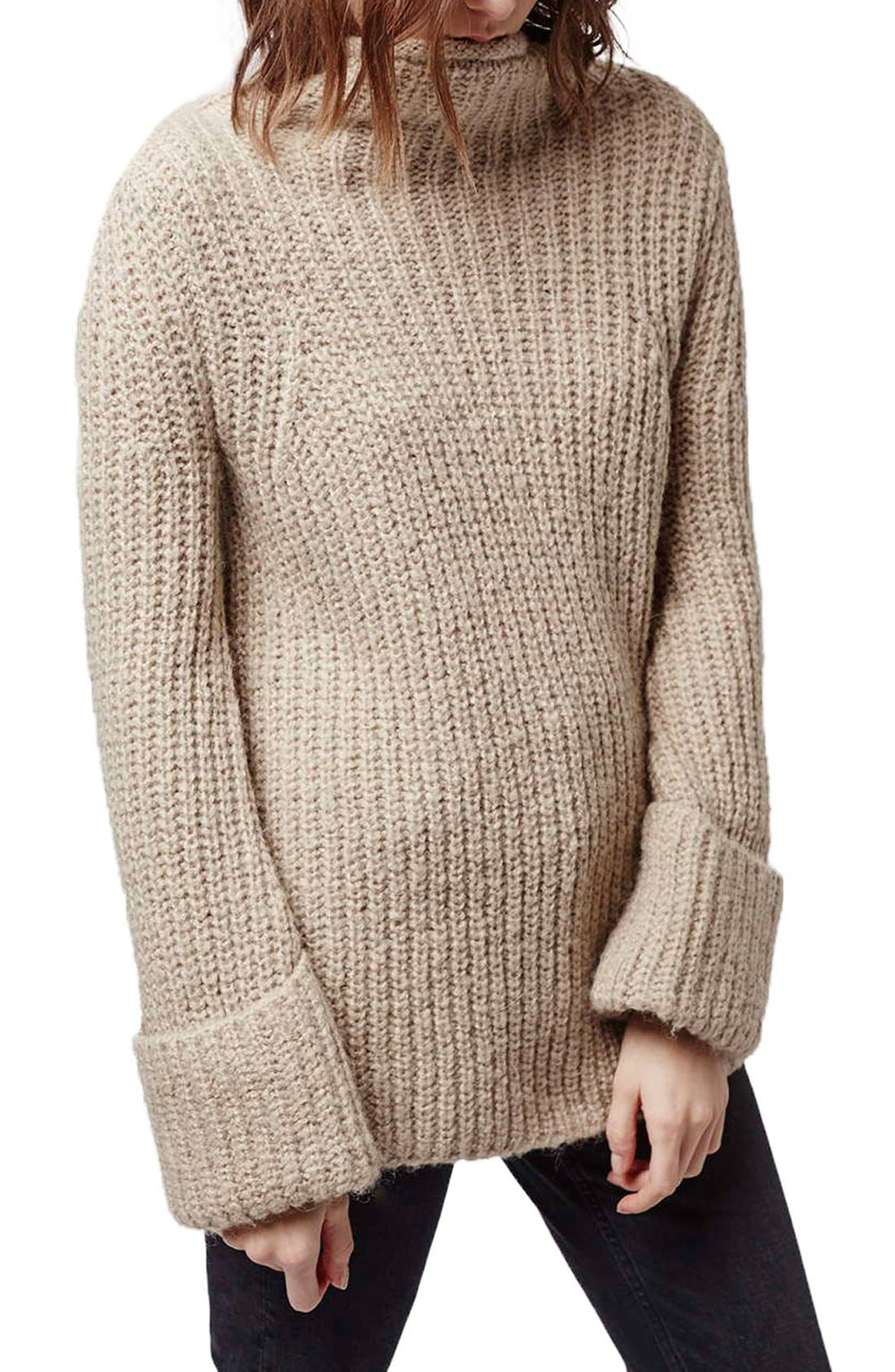 Main Image - Topshop 'Jumbo' Funnel Neck Sweater