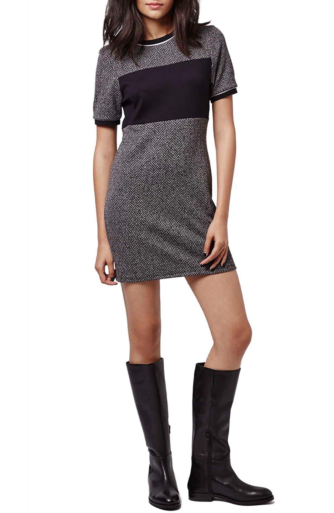 Main Image - Topshop Colorblock Herringbone Shift Dress