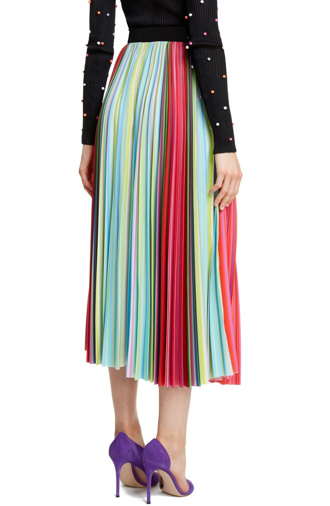 Alternate Image 2  - Mary Katrantzou Pleated Rainbow Stripe Midi Skirt