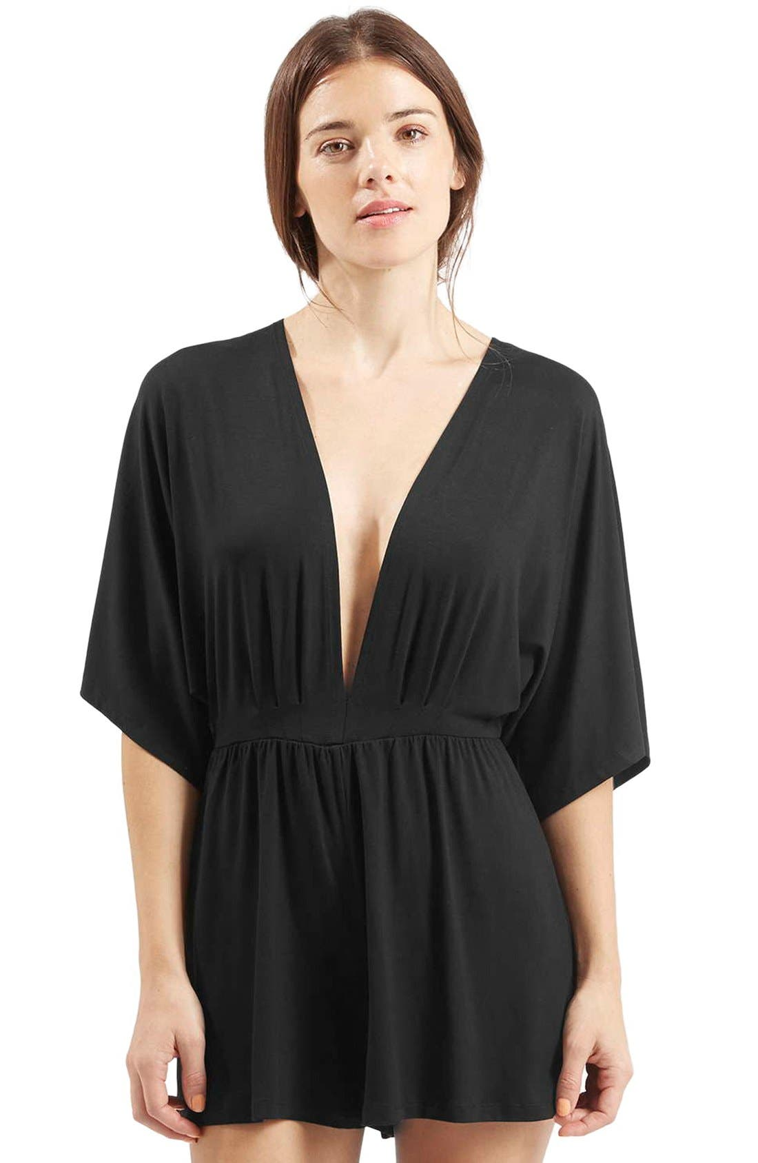 Plunge Jersey Romper,                             Alternate thumbnail 3, color,                             Black
