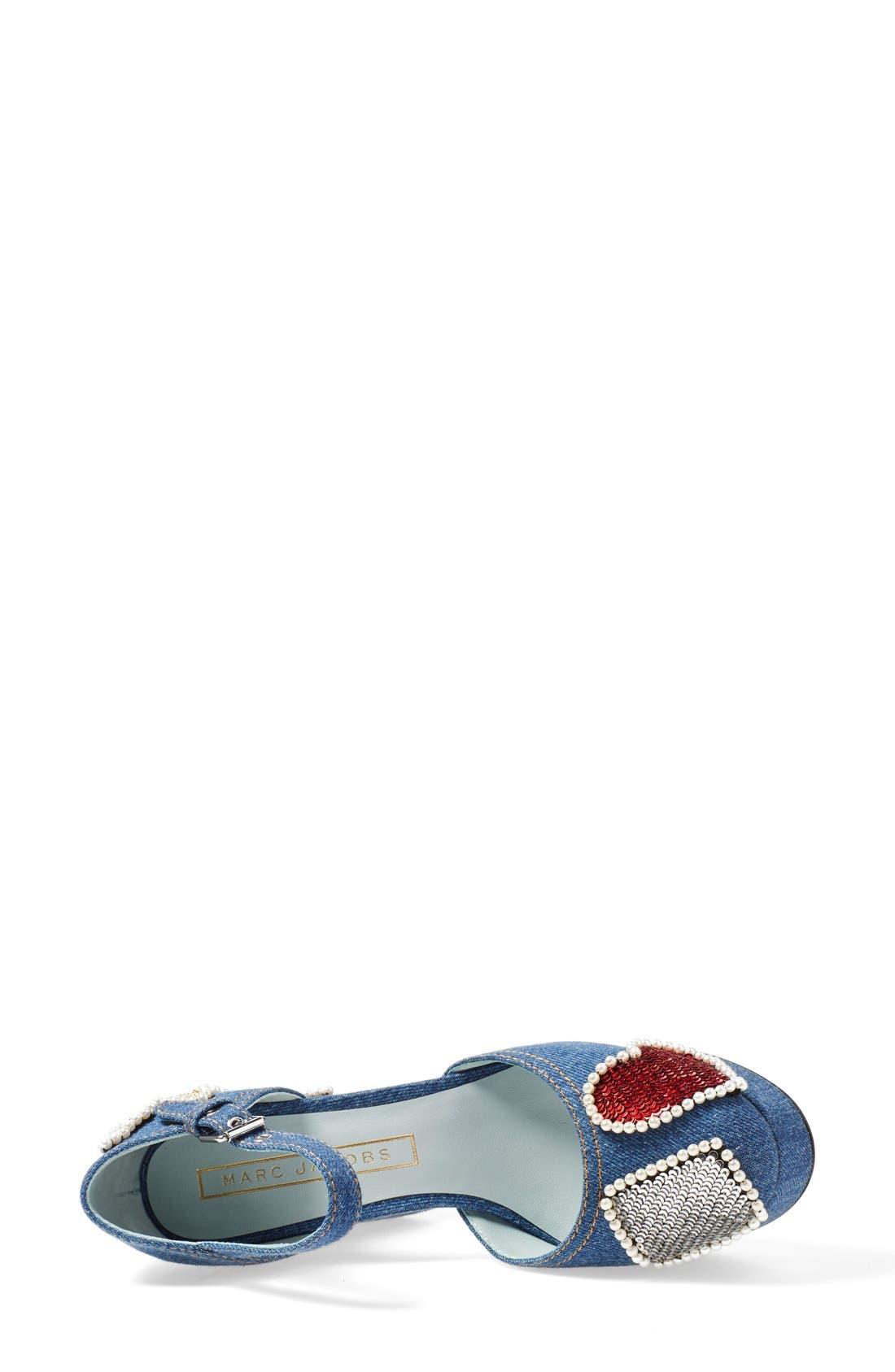 'American' Ankle Strap Platform Pump,                             Alternate thumbnail 3, color,                             Denim