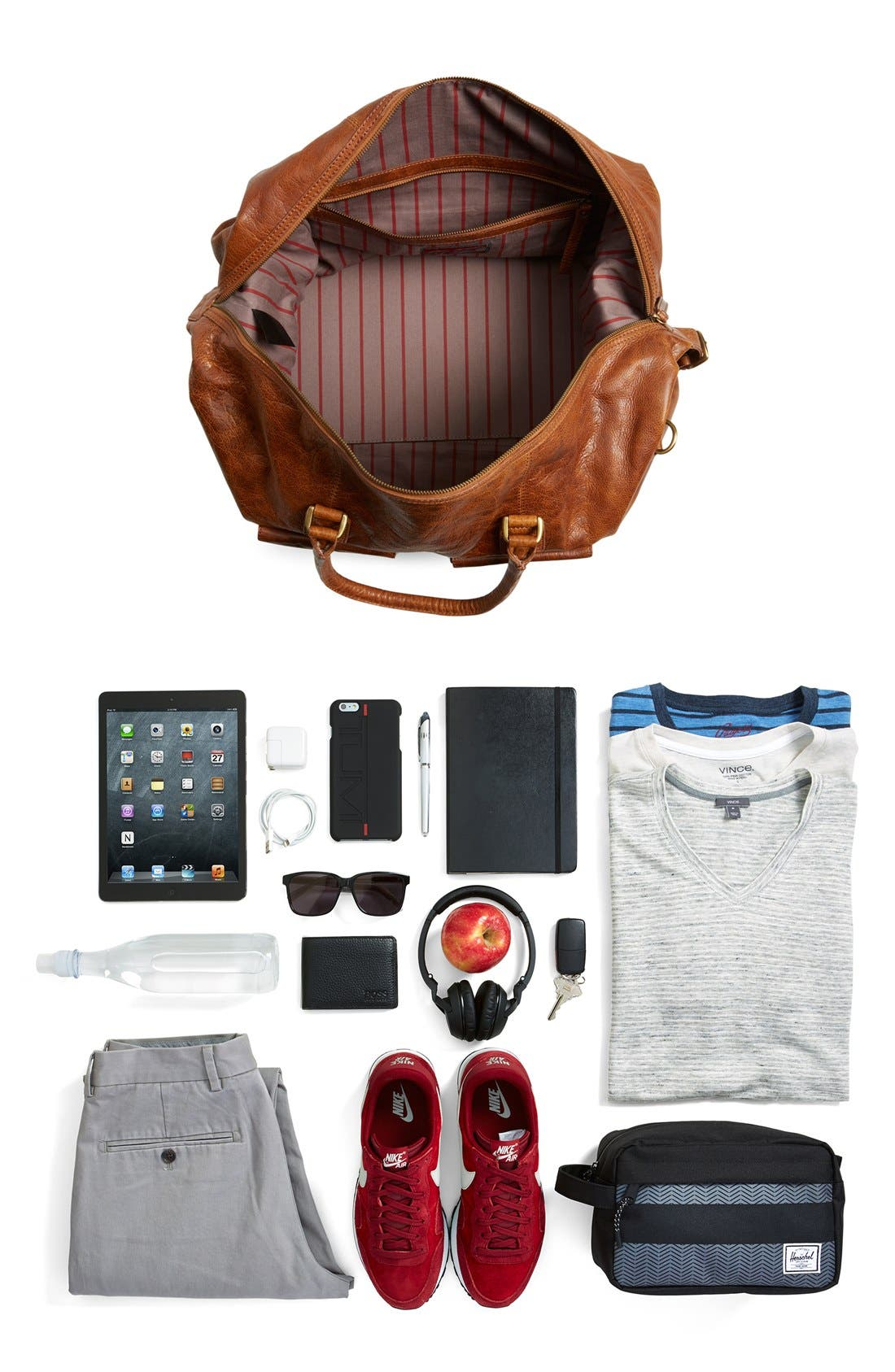 'Rugged' Leather Duffel Bag,                             Alternate thumbnail 7, color,                             Cognac