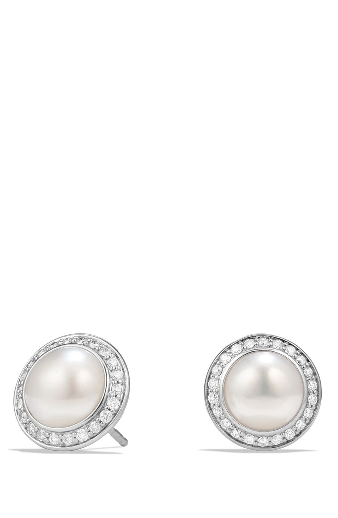 'Cerise' Petite Earrings with Pearls and Diamonds,                             Main thumbnail 1, color,                             Silver/ Pearl