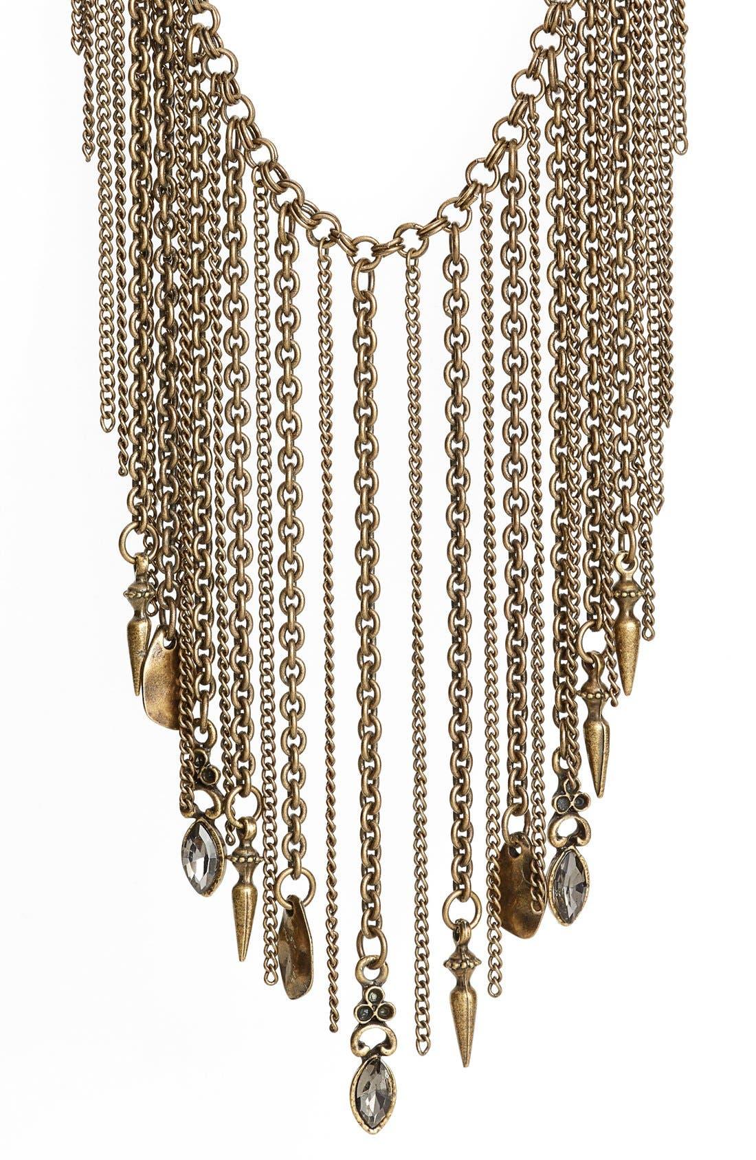 Fringe Tassel Statement Necklace,                             Alternate thumbnail 2, color,                             Antique Brass/ Gold
