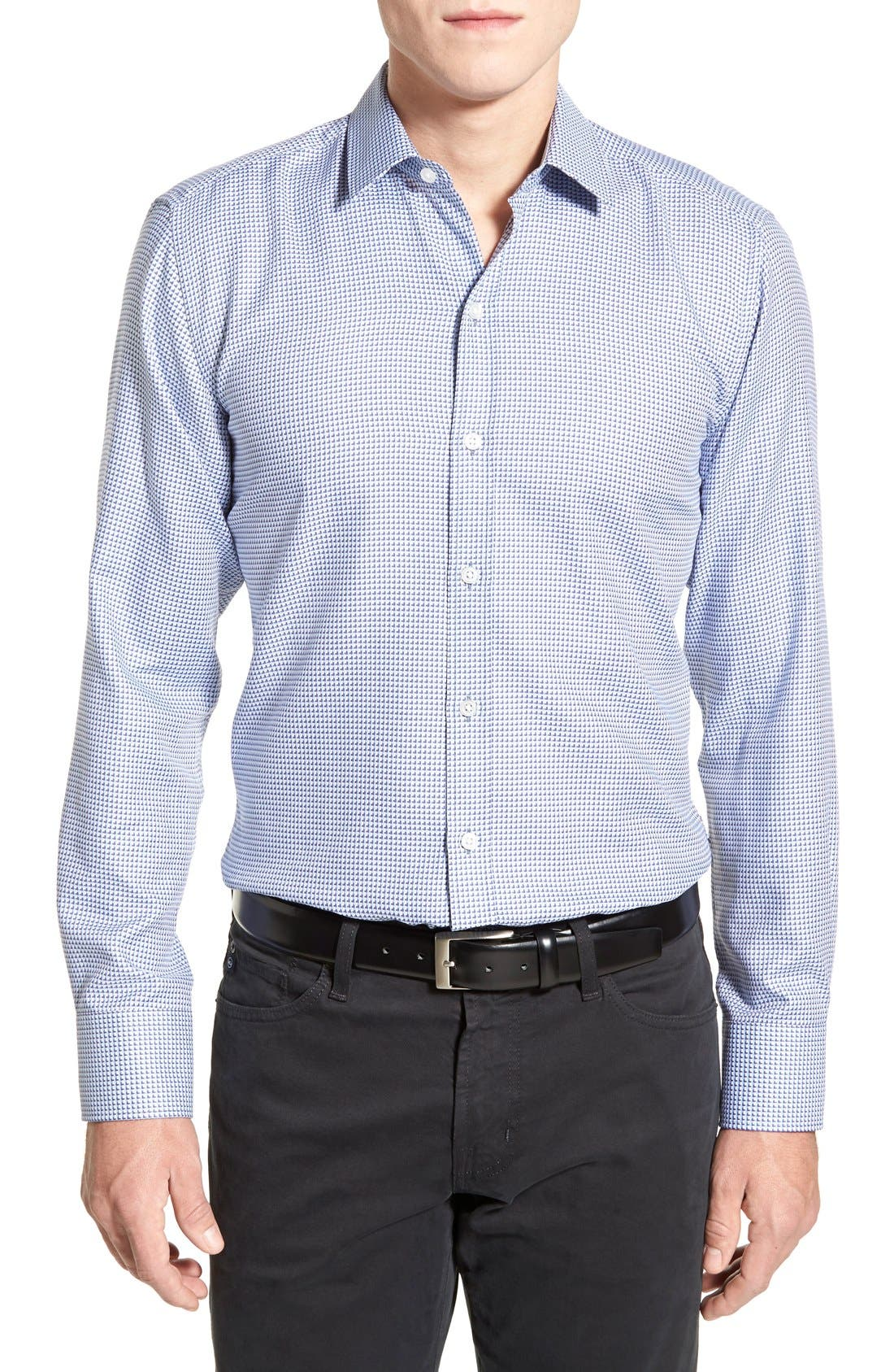 'Robbie' Slim Fit Sport Shirt,                         Main,                         color, Turquoise