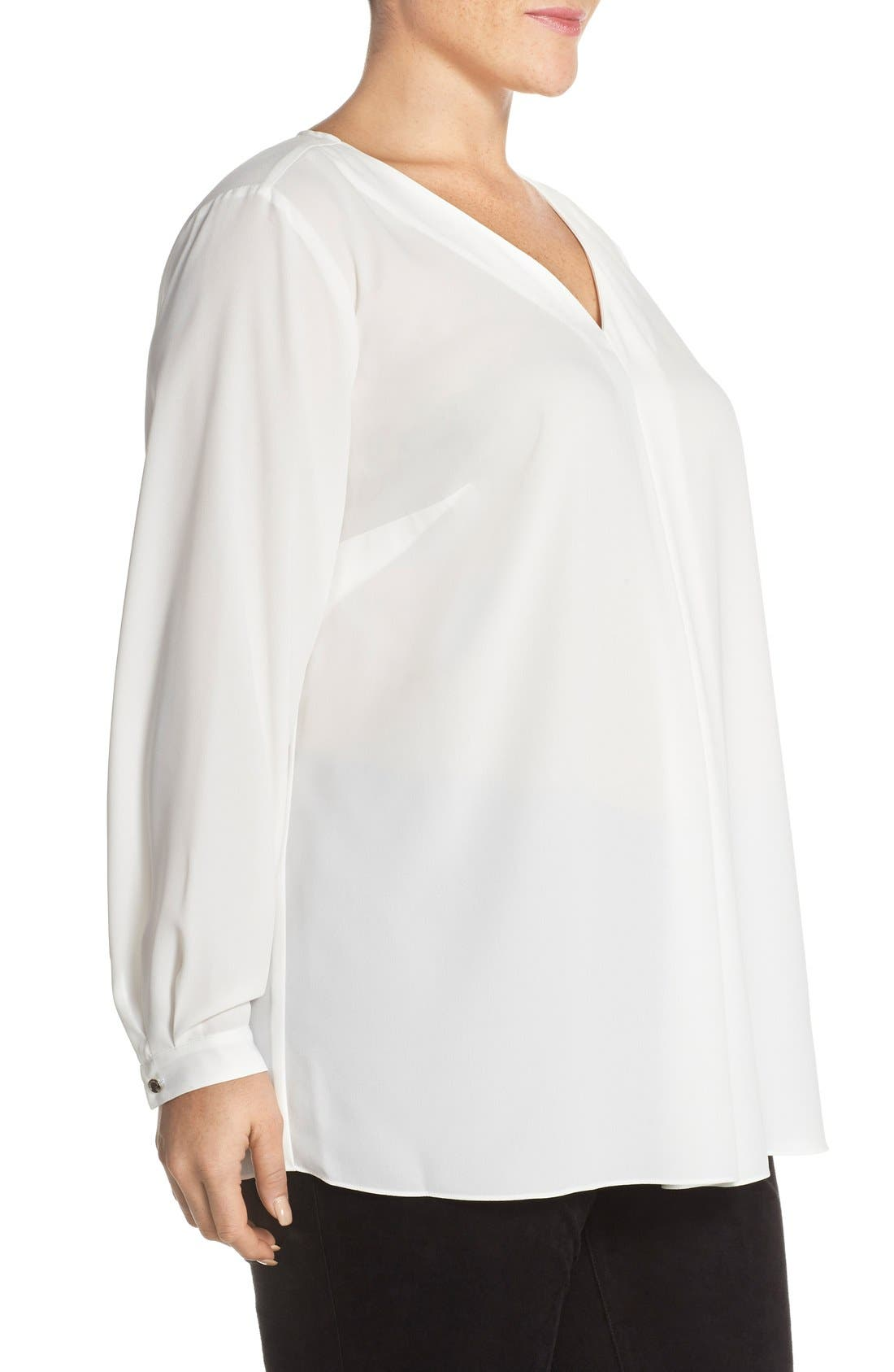 Alternate Image 3  - Vince Camuto Pleat Front V-Neck Blouse (Plus Size)