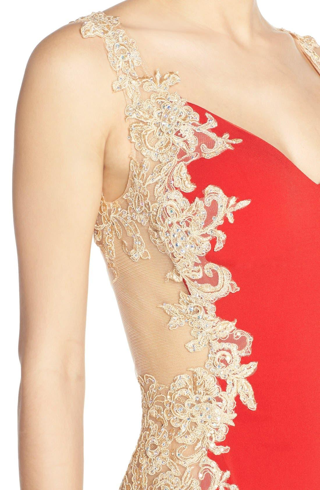 Alternate Image 4  - JVN by Jovani Embellished Sheer Back Gown