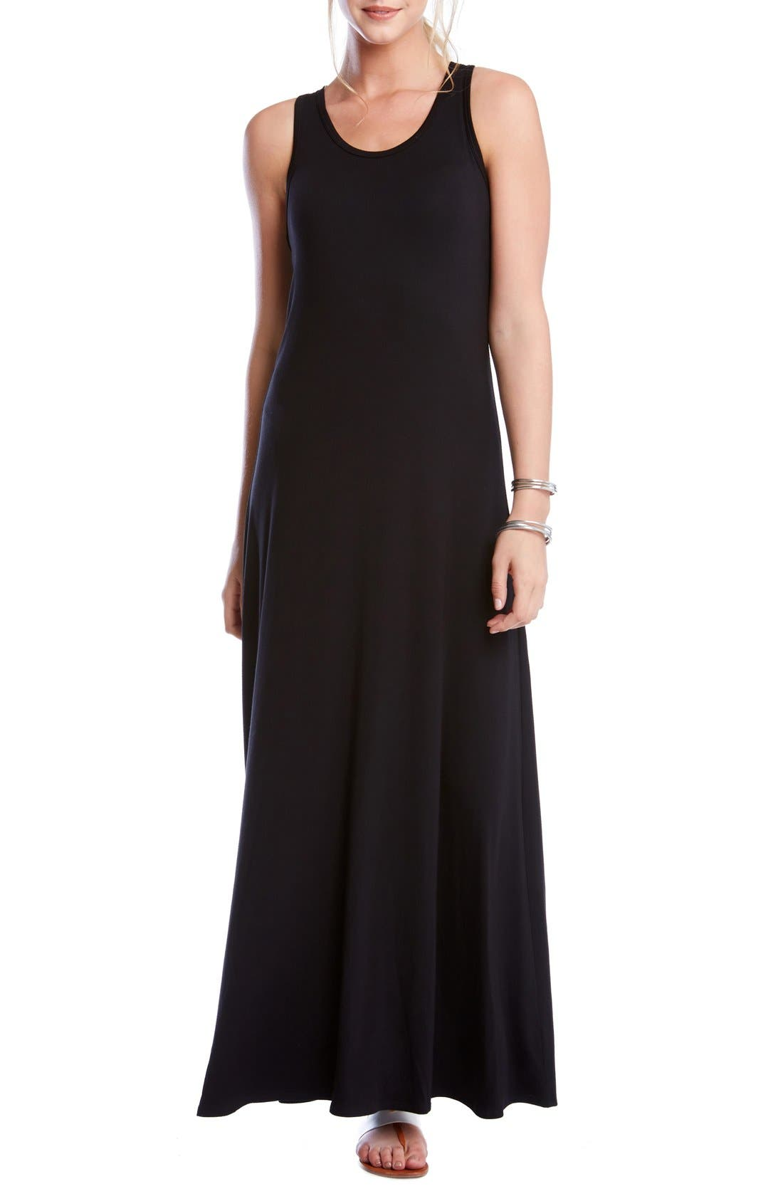 'Tasha' Racerback Jersey Maxi Dress,                             Main thumbnail 1, color,                             Black
